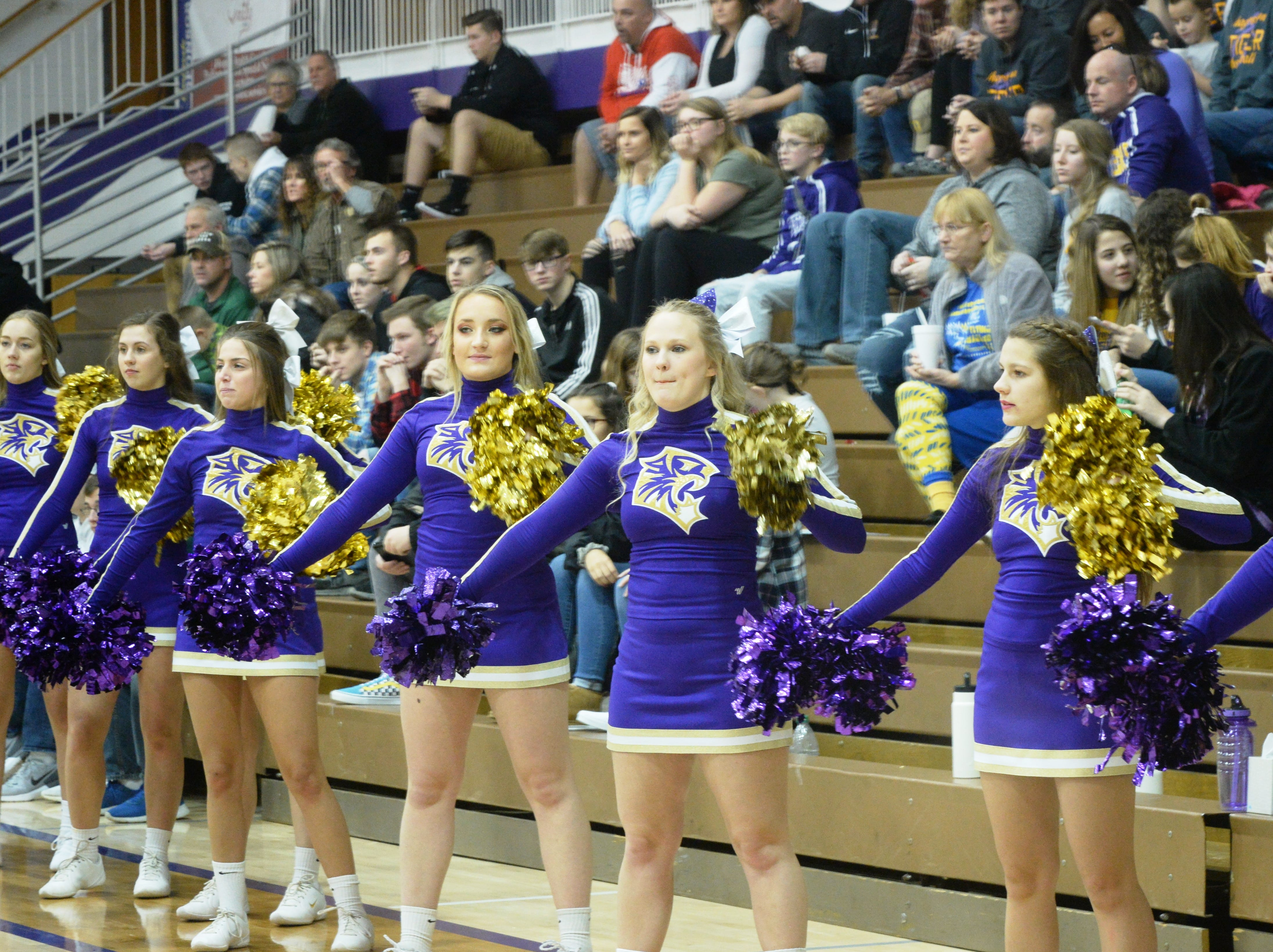Hagerstown cheerleaders during the Wayne County girls basketball championship at Hagerstown Saturday, Jan. 5, 2019. Hagerstown defeated Northeastern 37-35 to win the girls' title, and Northeastern beat Hagerstown 60-49 in the boys championship.