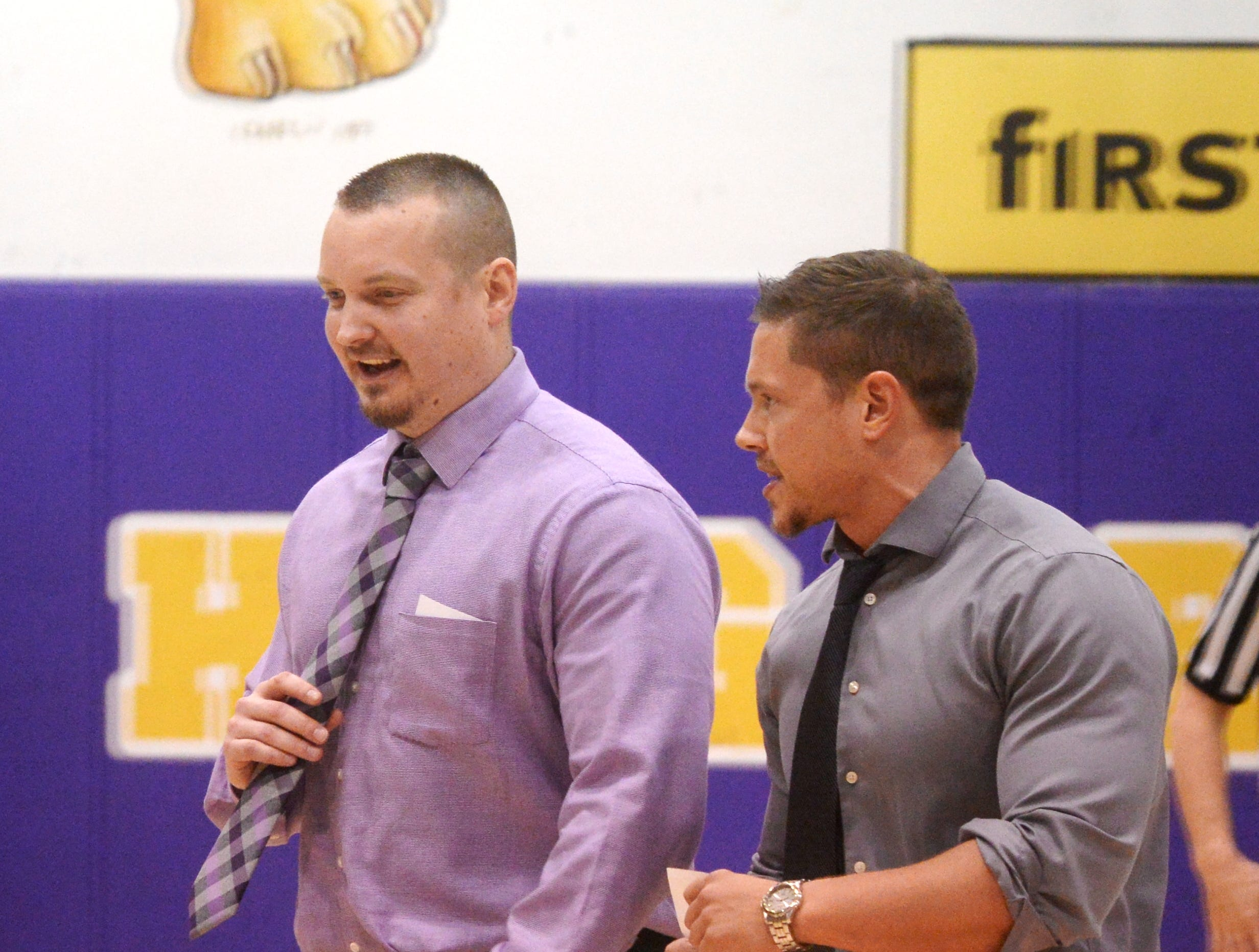 Hagerstown boys basketball coach Chad Romack and assistant Chandler Cross during the Wayne County boys basketball championship at Hagerstown Saturday, Jan. 5, 2019. Hagerstown defeated Northeastern 37-35 to win the girls' title, and Northeastern beat Hagerstown 60-49 in the boys championship.