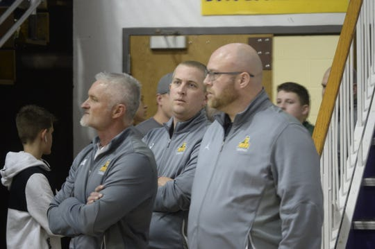 Northeastern High School assistant coaches Don Beatty (from left), Brian Maurer, and Tyler Moore during the Wayne County tournament at Hagerstown Saturday, Jan. 5, 2019. Northeastern beat Hagerstown 60-49 in the boys championship.