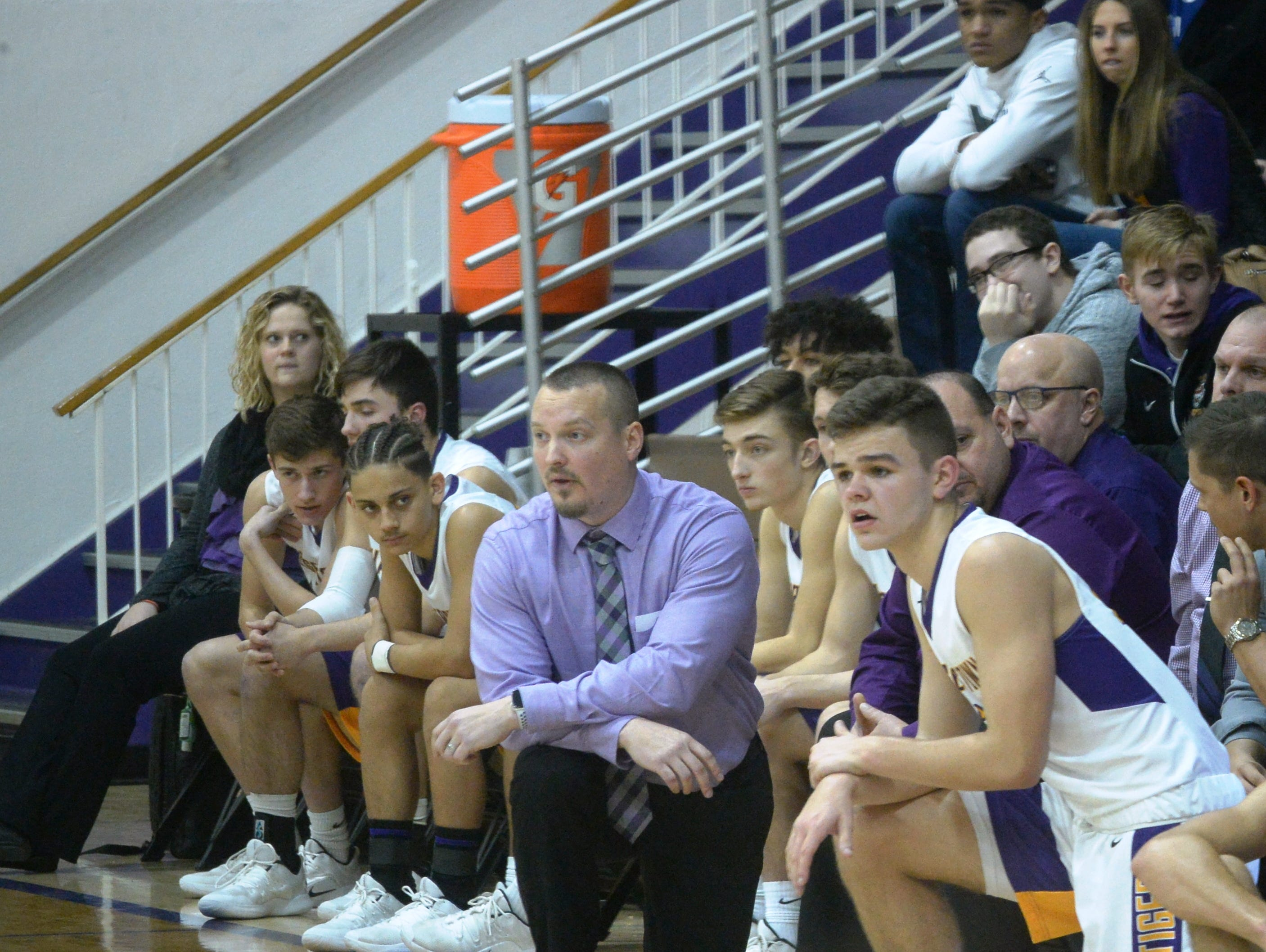 Hagerstown boys basketball coach Chad Romack during the Wayne County boys basketball championship at Hagerstown Saturday, Jan. 5, 2019. Hagerstown defeated Northeastern 37-35 to win the girls' title, and Northeastern beat Hagerstown 60-49 in the boys championship.