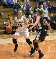 Northeastern's Jenna McFarland (24) had a game-high 26 points in the Knights' 74-27 season-opening win over Randolph Southern on Friday night.
