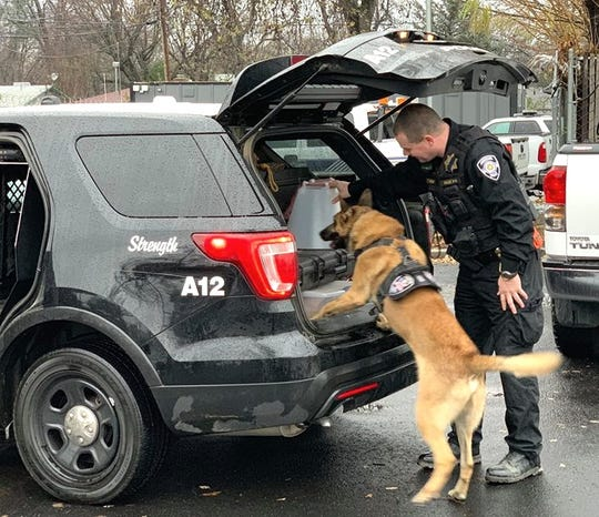 K-9 Chance returned to his duties Saturday after being wounded in the ear with a gunshot a week earlier.