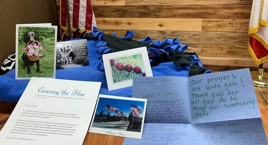 Community members sent K-9 Chance a number of get-well and thank-you cards after he was wounded during a pursuit on Dec. 29, 2018.