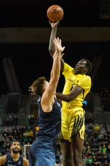 Oregon center Bol Bol (1) is done for the season with a foot injury, and his career with the Ducks is likely over.
