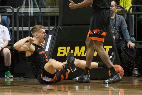 Jan 5, 2019; Eugene, OR, USA; Oregon State Beavers forward Tres Tinkle (3) celebrates after being fouled on a scoring play during the first half against the Oregon Ducks at Matthew Knight Arena. Mandatory Credit: Troy Wayrynen-USA TODAY Sports