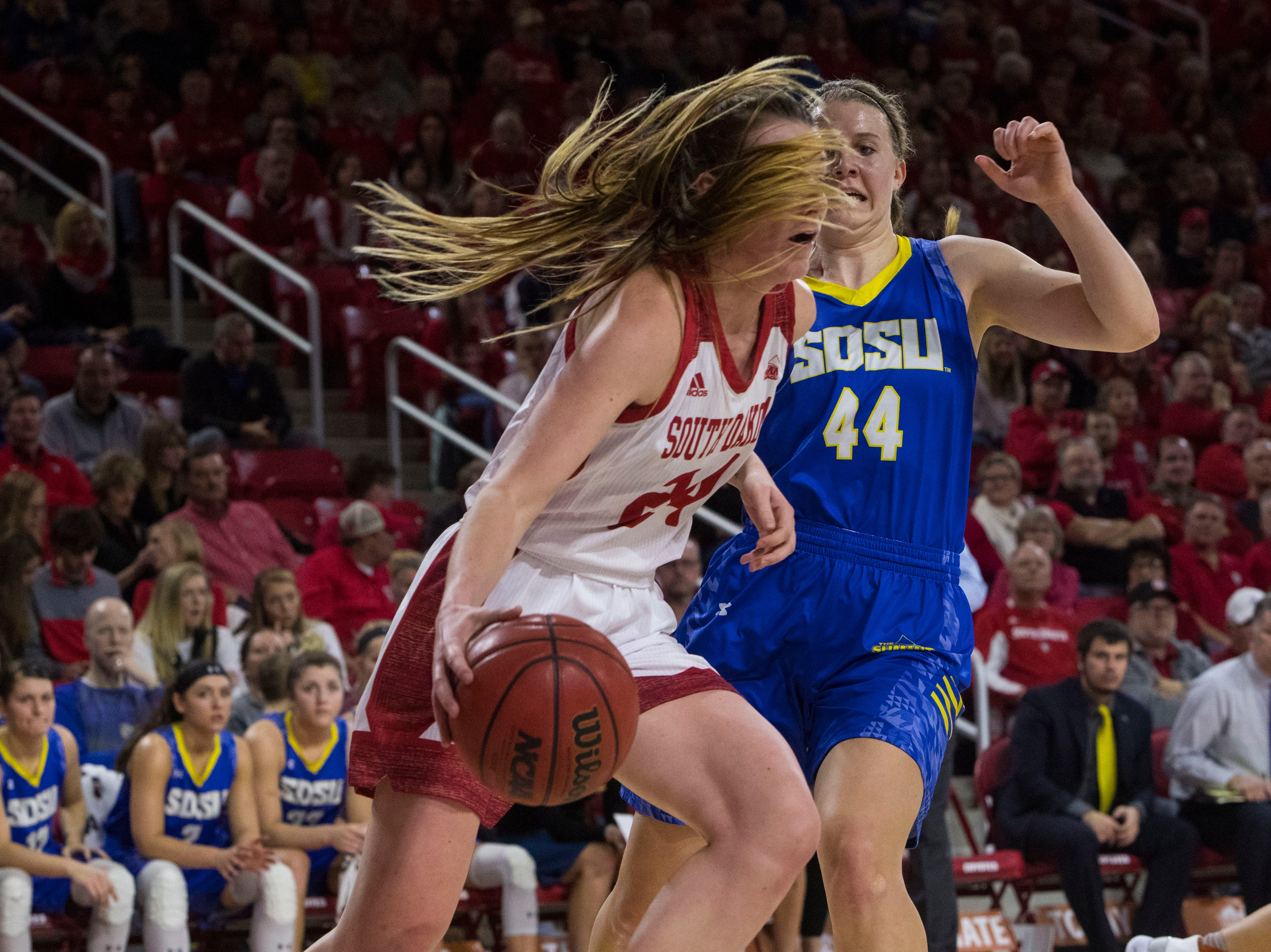 USD's Ciara Duffy (24) dribbles the ball past SDSU's Myah Selland (44) during a game, Sunday, Jan. 6, 2019 in Vermillion, S.D.