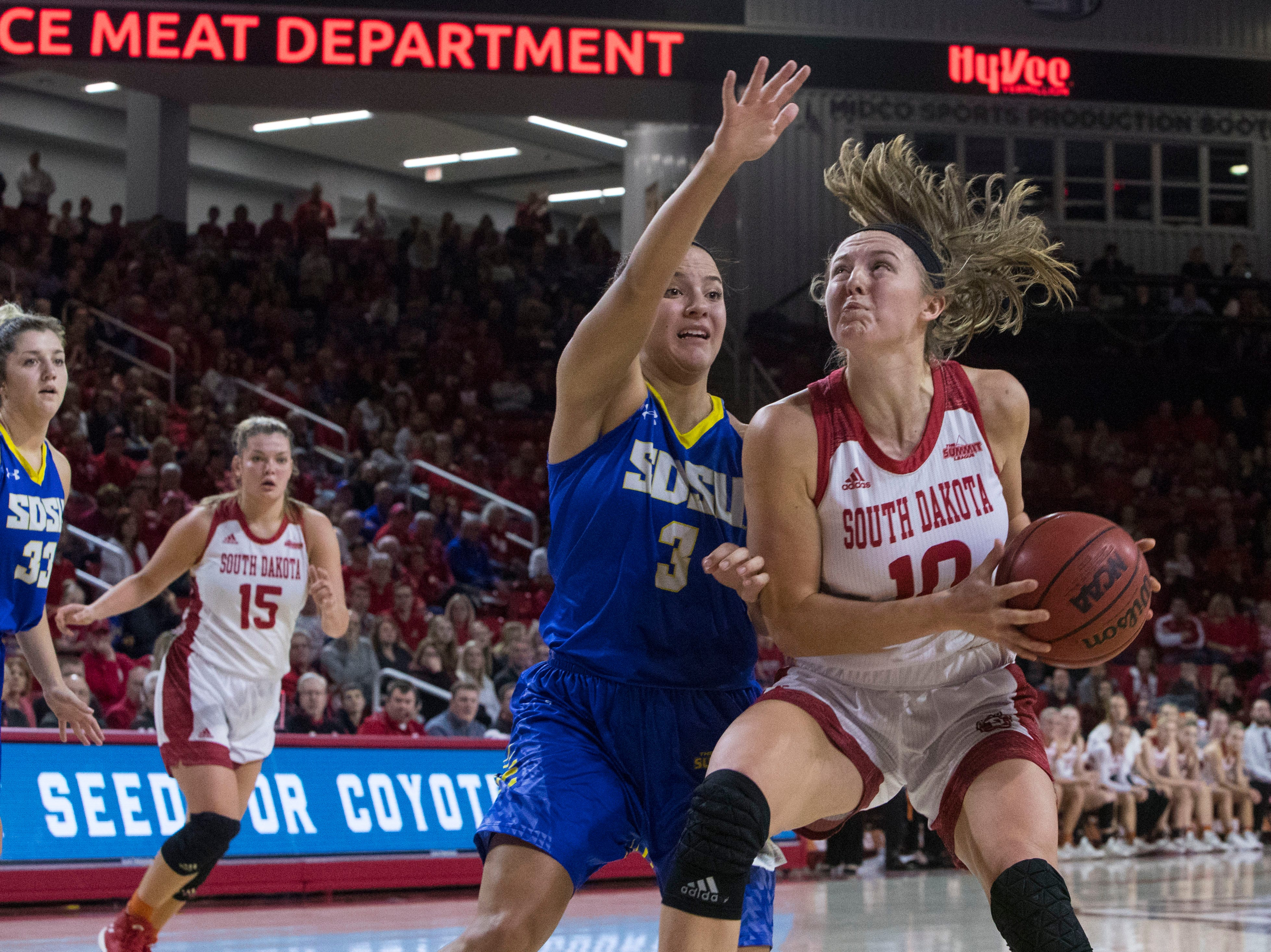 SDSU's Lindsey Theuninck (3) blocks USD's Allison Arens (10) during a game, Sunday, Jan. 6, 2019 in Vermillion, S.D.
