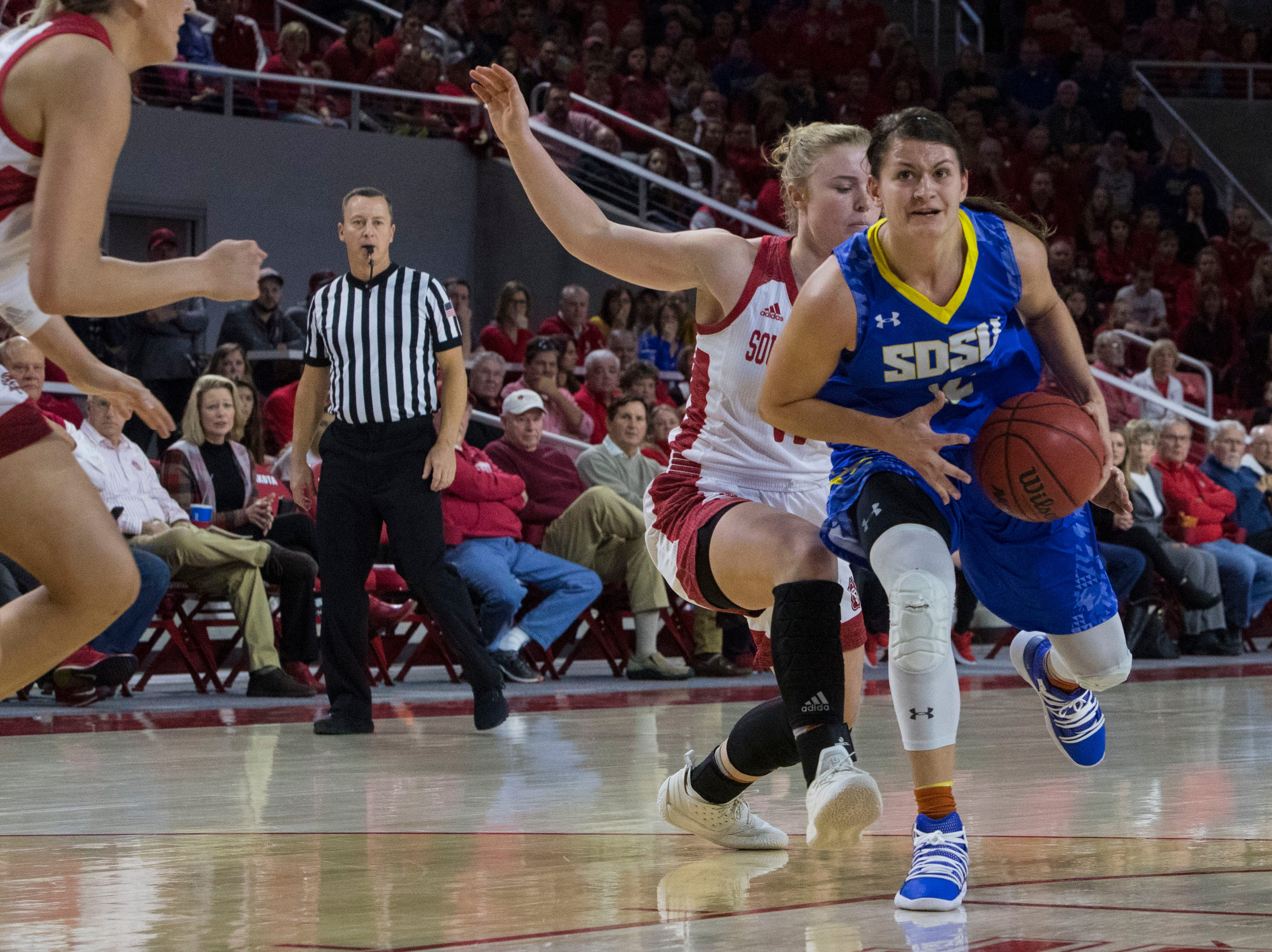 SDSU's Macy Miller (12) dribbles the ball during a game against USD, Sunday, Jan. 6, 2019 in Vermillion, S.D.