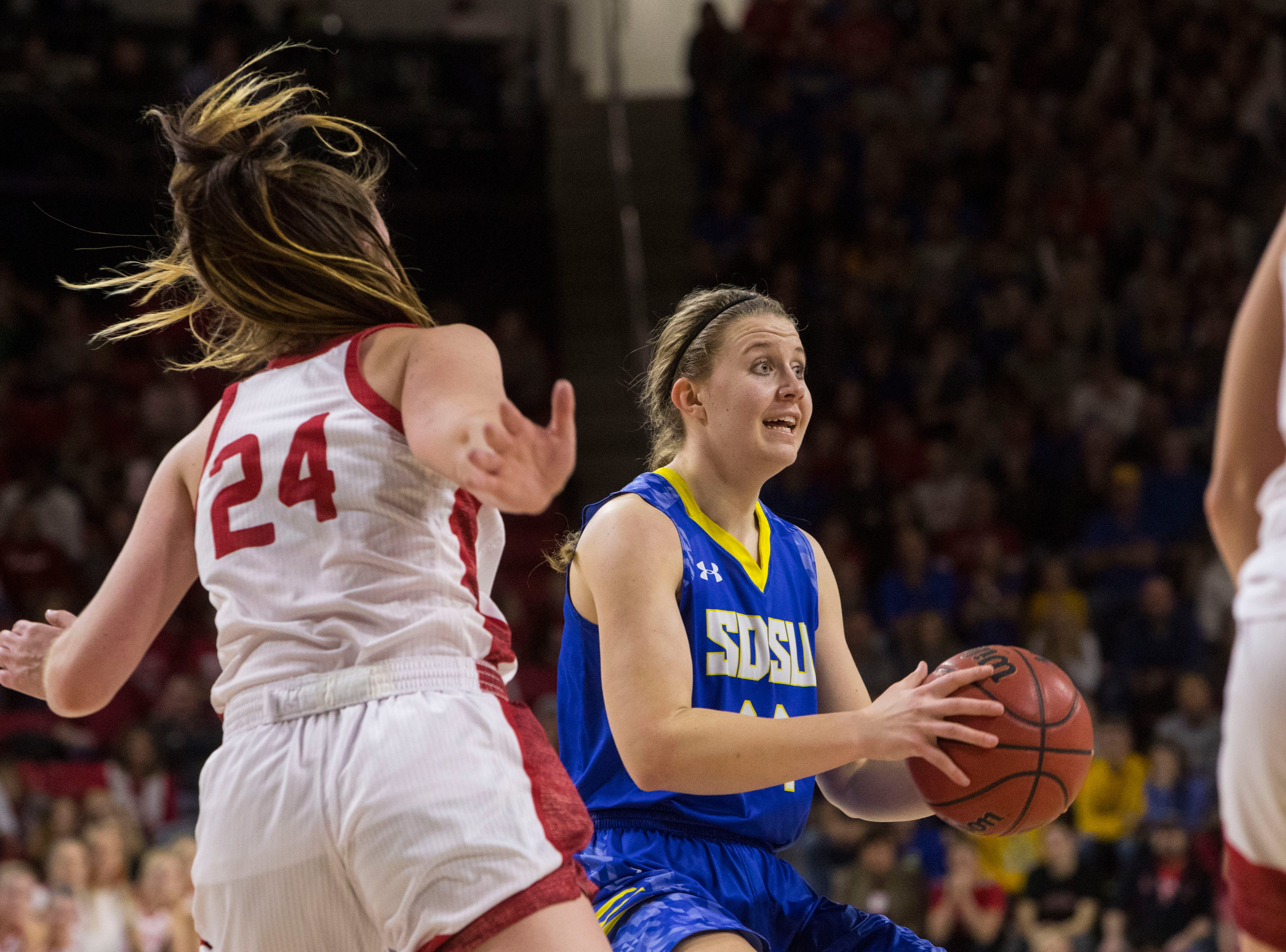 SDSU's Myah Selland (44) looks to pass the ball during a game against USD, Sunday, Jan. 6, 2019 in Vermillion, S.D.