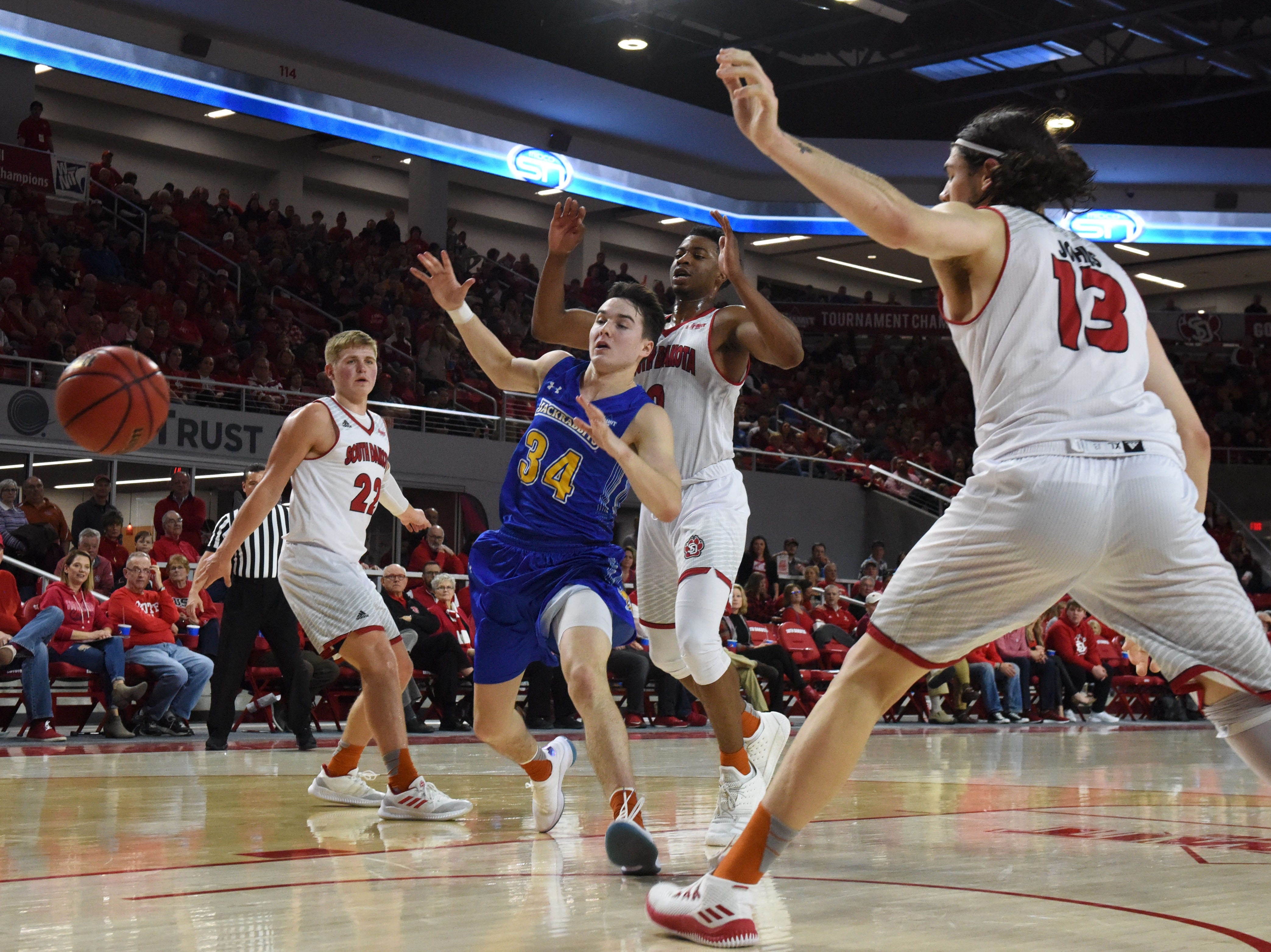 SDSU and USD players go for the ball during a game, Sunday, Jan. 6, 2019 in Vermillion, S.D.