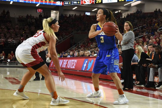SDSU's Lindsey Theuninck (3) looks to pass the ball during a game against USD, Sunday, Jan. 6, 2019 in Vermillion, S.D.