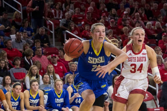 SDSU's Tagyn Larson (24) dribbles the ball past USD's Hannah Sjerven (34) during a game, Sunday, Jan. 6, 2019 in Vermillion, S.D.