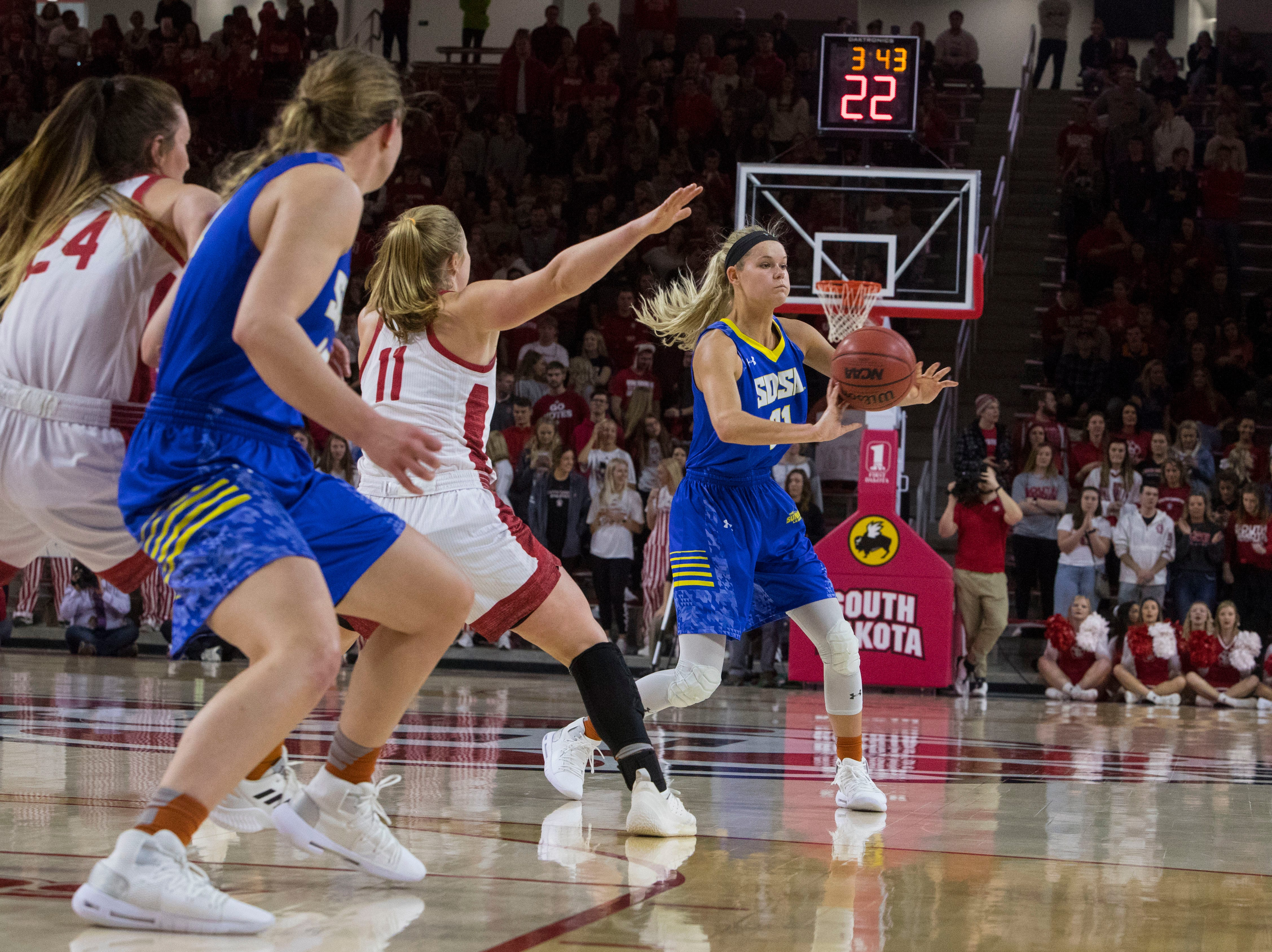 SDSU's Tylee Irwin (21) passes the ball during a game against USD, Sunday, Jan. 6, 2019 in Vermillion, S.D.