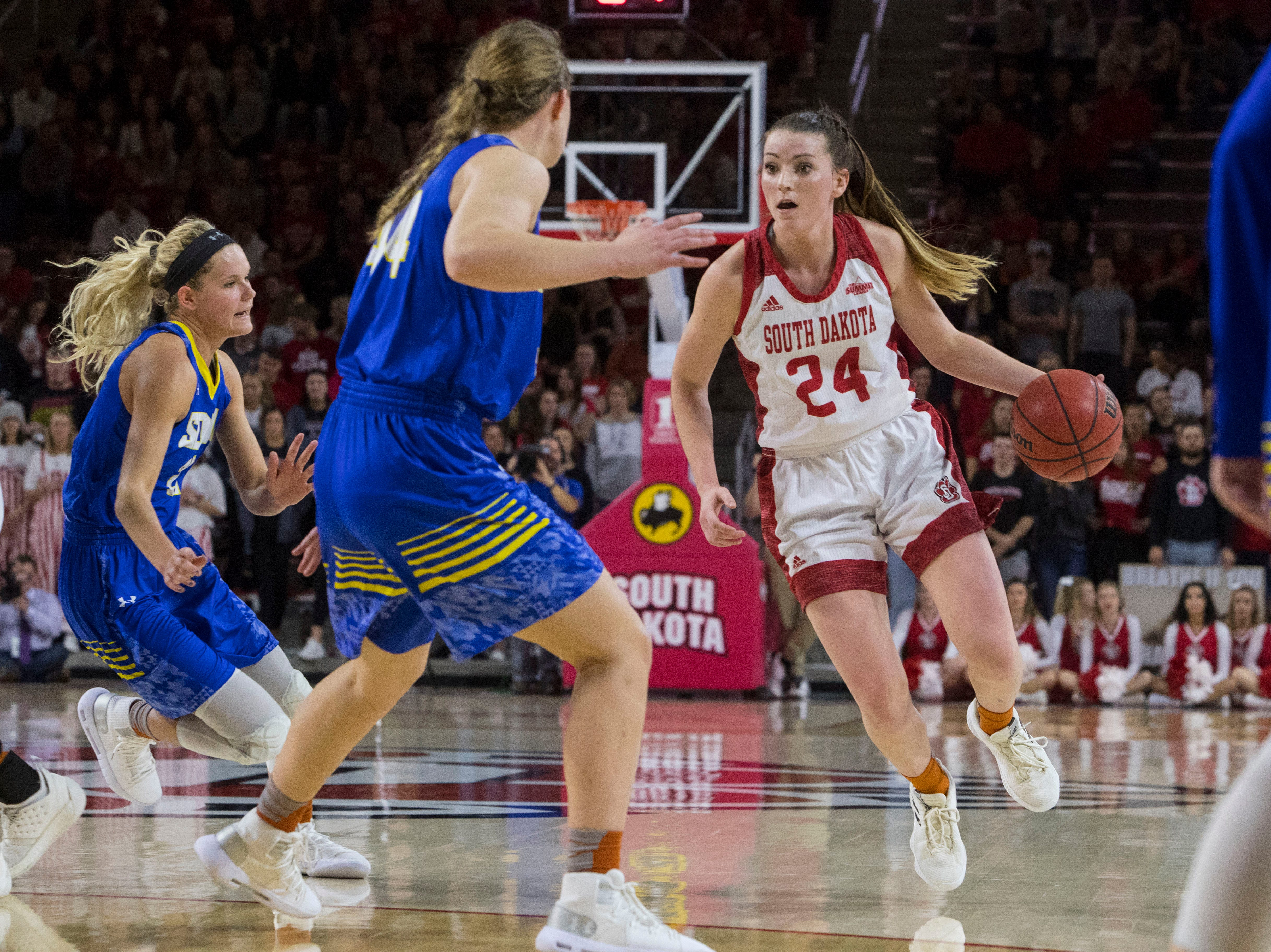 USD's Ciara Duffy (24) dribbles the ball during a game against SDSU, Sunday, Jan. 6, 2019 in Vermillion, S.D.