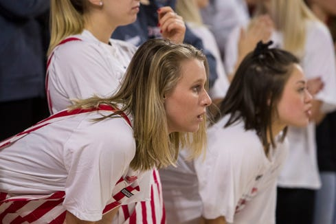 USD fans watch the SDSU and USD game on Sunday, Jan. 6, 2019 in Vermillion, S.D.