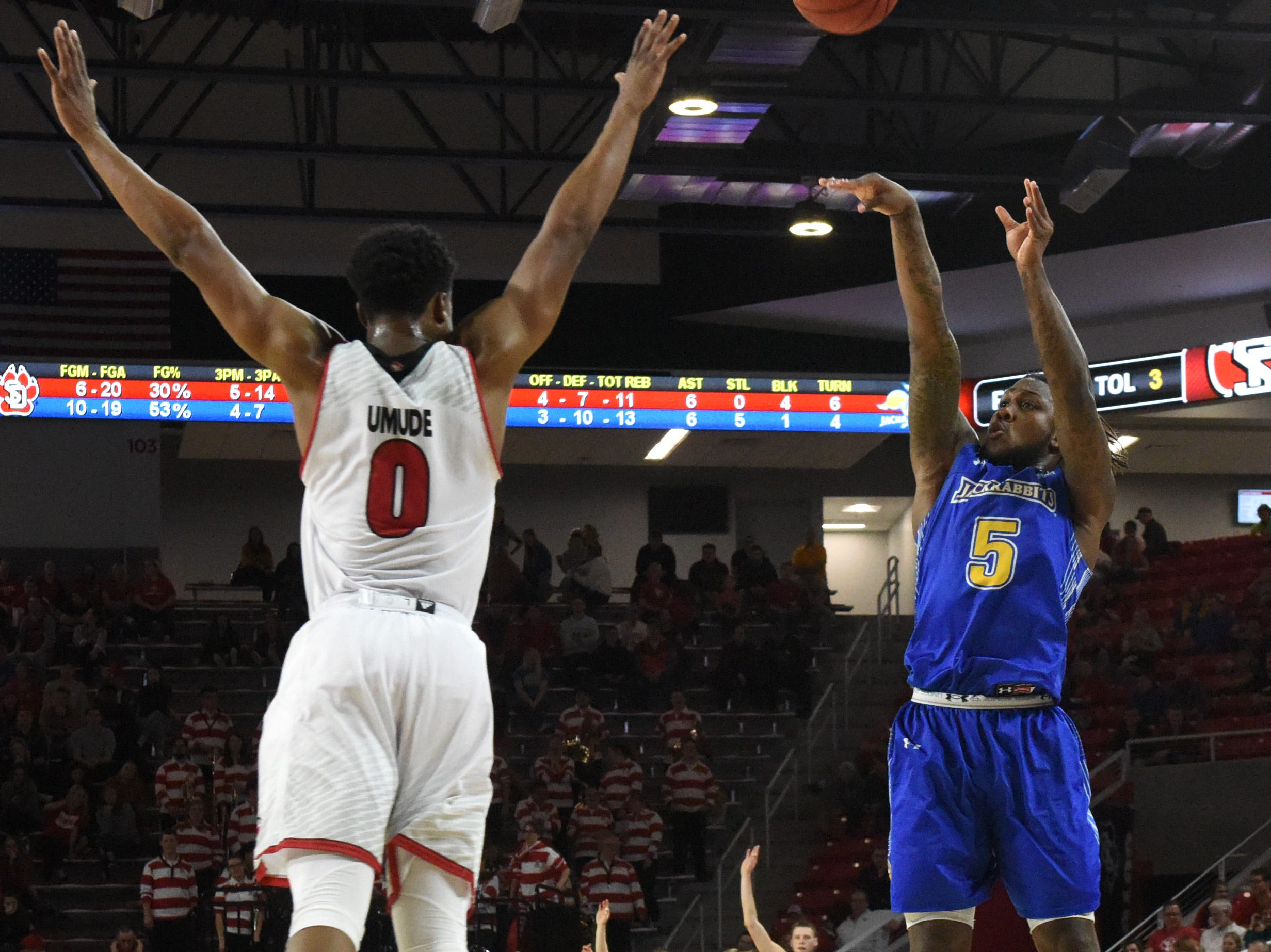 SDSU's David Jenkins (5) shoots the ball over USD's Stanley Umude (0) during a game, Sunday, Jan. 6, 2019 in Vermillion, S.D.