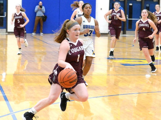 Stuarts Draft's Madi Armentrout brings the ball down court Saturday at the Play for Preemies Showcase at Western Albemarle High School.
