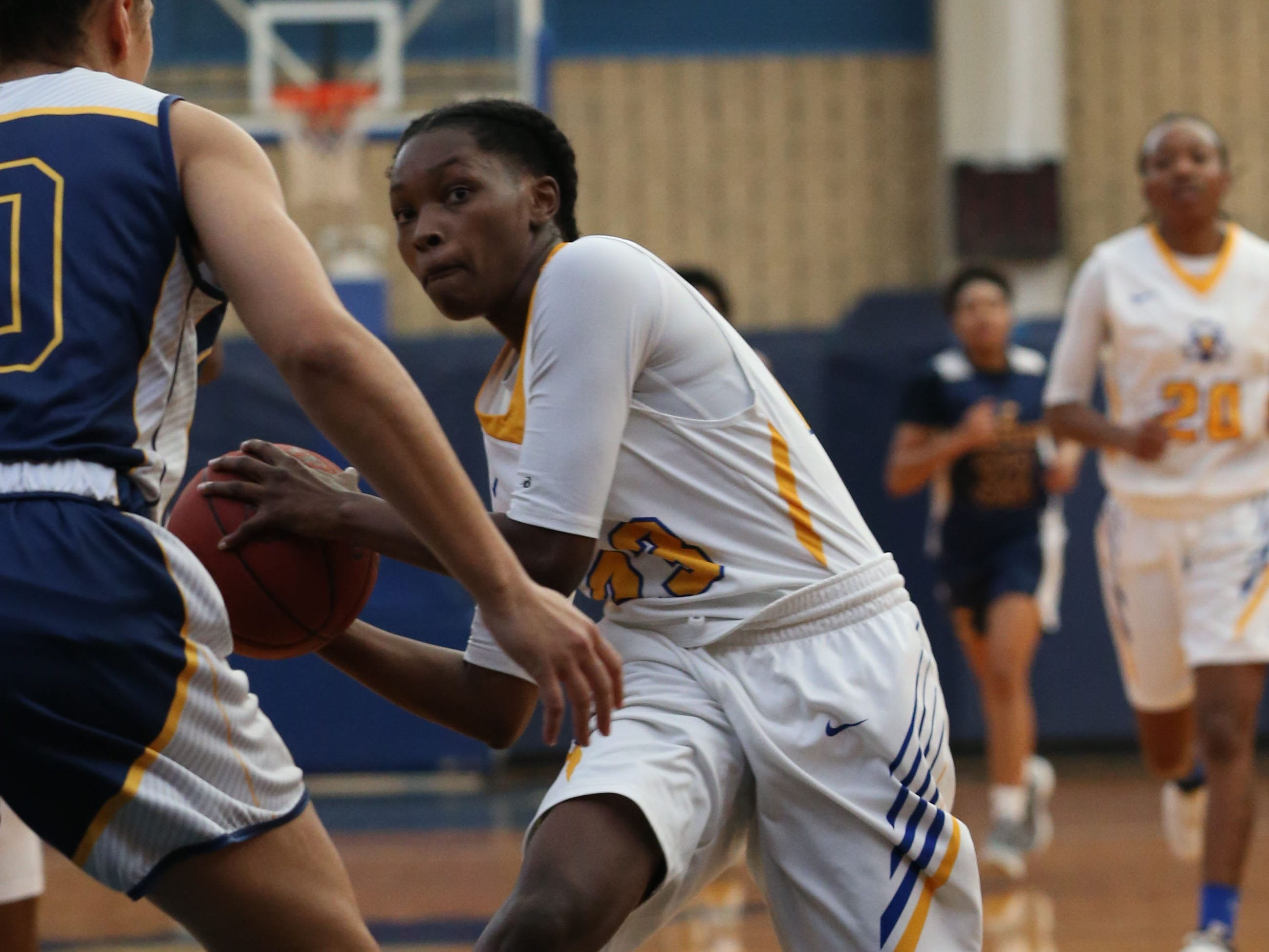 Tallahassee Community College Eagles guard Juliunn Redmond (23) looks to pass to a teammate. The Tallahassee Community College Eagles host the Gulf Coast State College Commodores in a conference match-up in the Eagledome, Saturday, Jan. 5, 2019.
