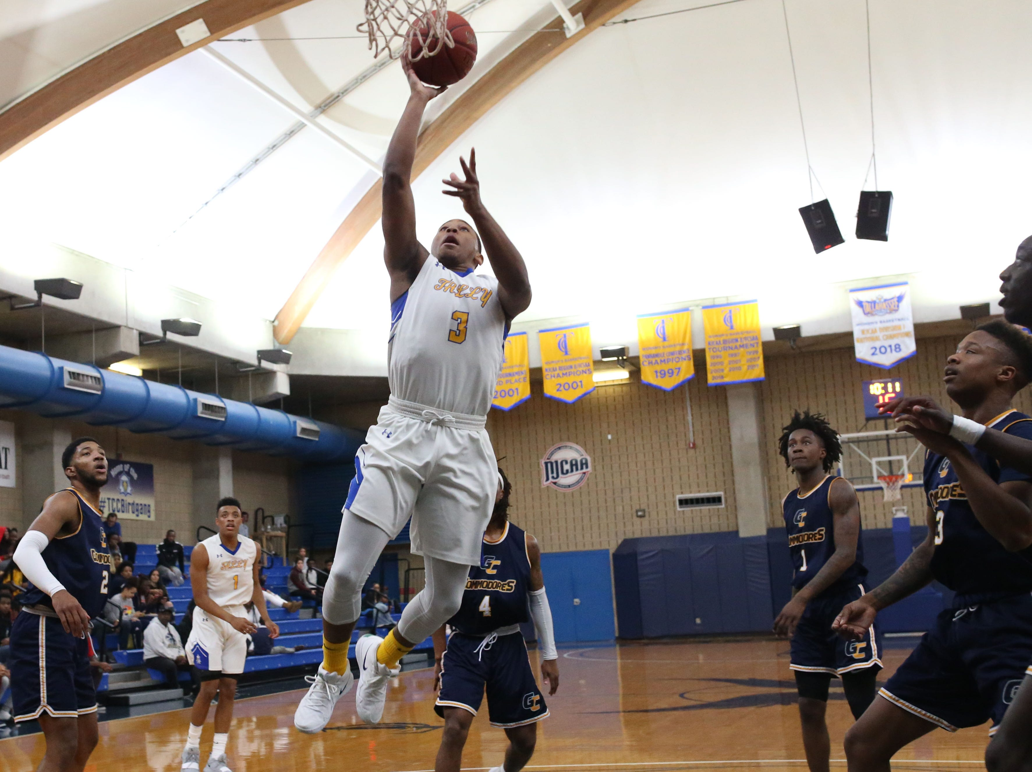 Tallahassee Community College Eagles guard Mustafa Lawrence (3) goes for a layup. The Tallahassee Community College Eagles host the Gulf Coast State College Commodores in a conference match-up in the Eagledome, Saturday, Jan. 5, 2019.