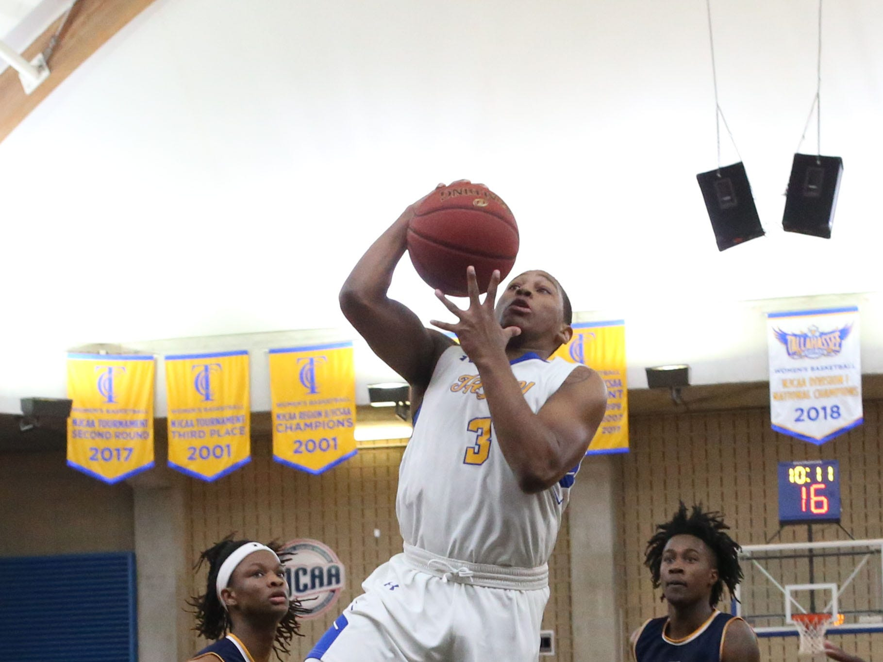 Tallahassee Community College Eagles guard Mustafa Lawrence (3) drives the ball to the hoop. The Tallahassee Community College Eagles host the Gulf Coast State College Commodores in a conference match-up in the Eagledome, Saturday, Jan. 5, 2019.