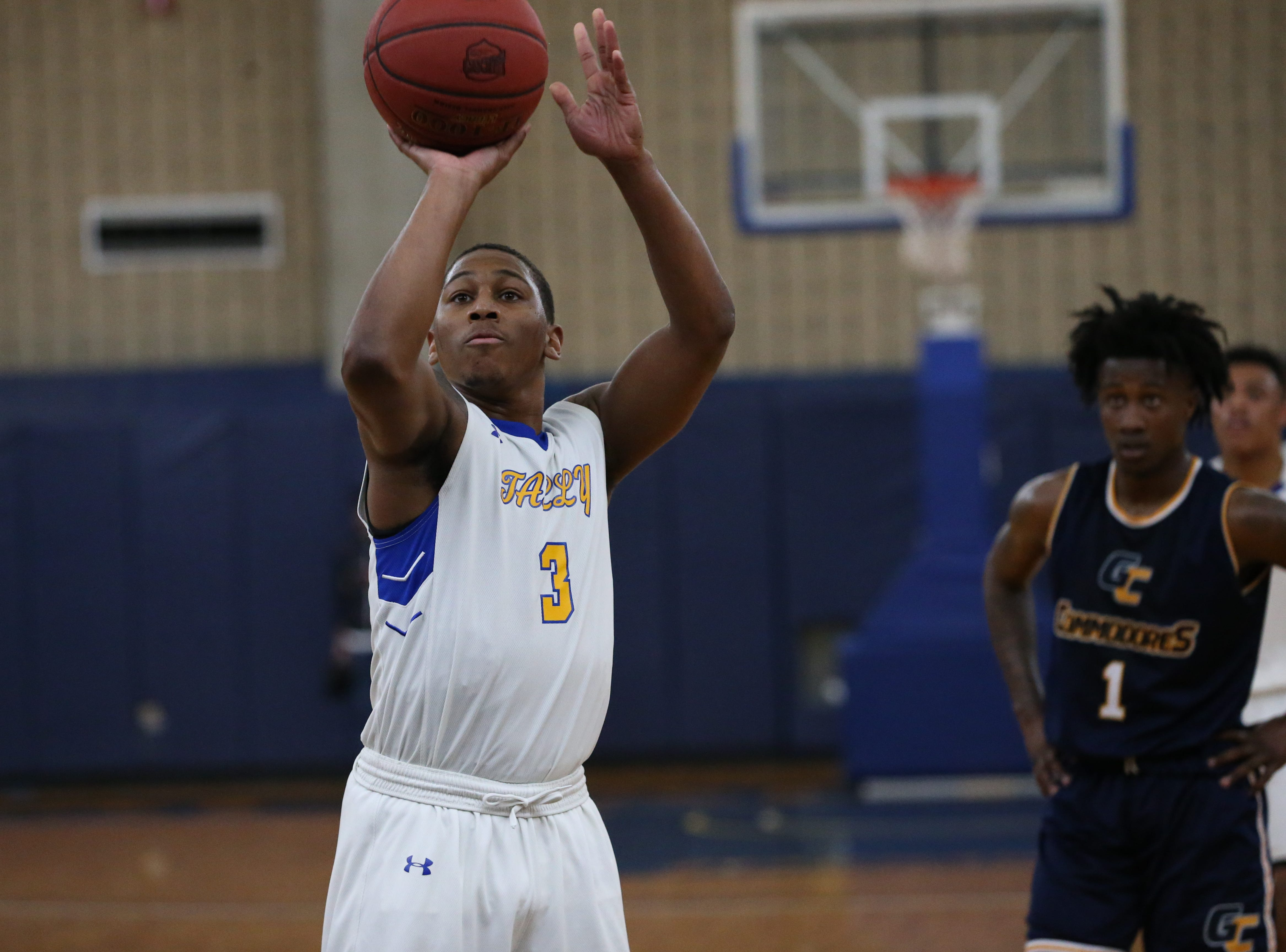 Tallahassee Community College Eagles guard Mustafa Lawrence (3) shoots a free throw. The Tallahassee Community College Eagles host the Gulf Coast State College Commodores in a conference match-up in the Eagledome, Saturday, Jan. 5, 2019.