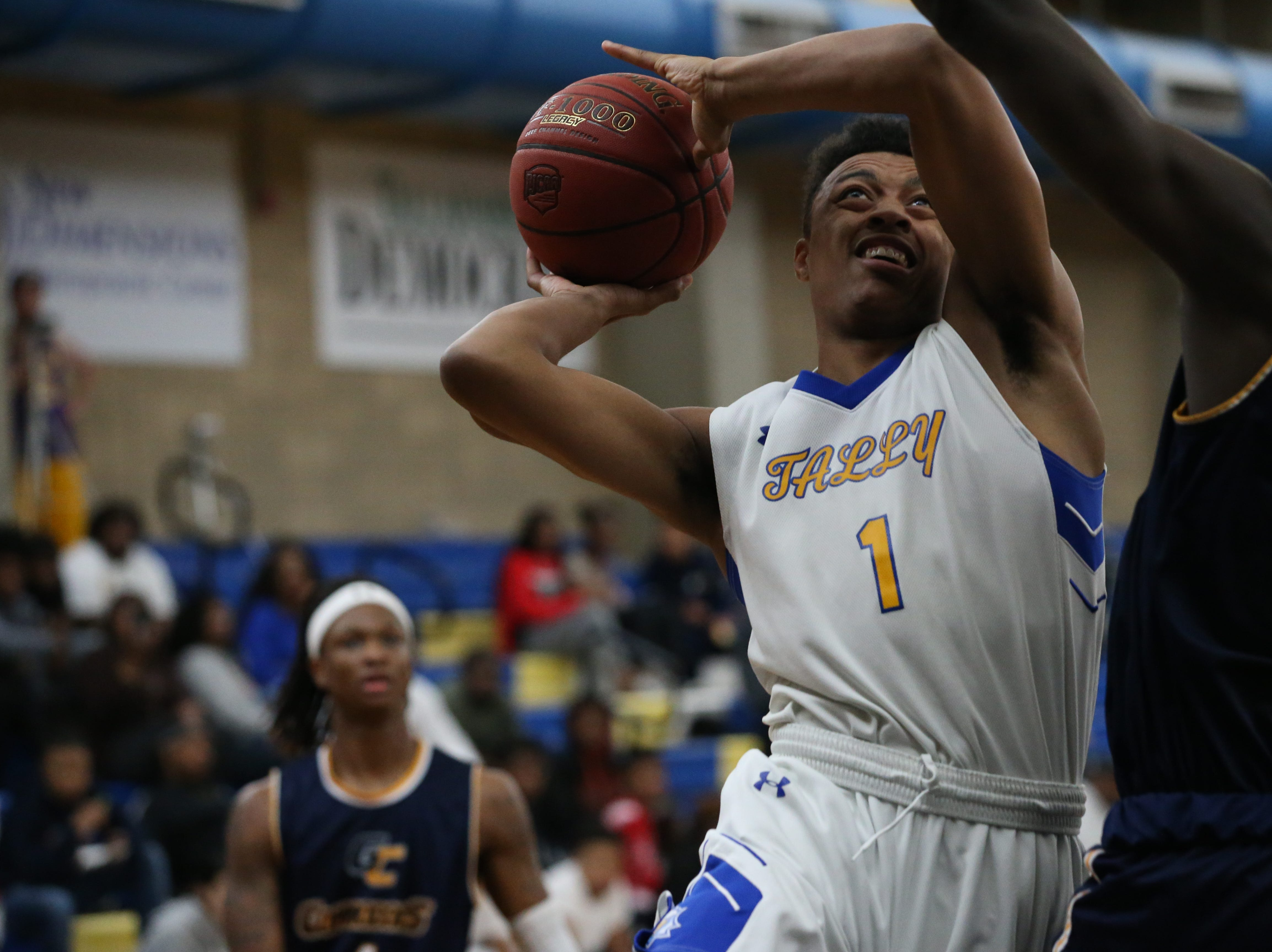 Tallahassee Community College Eagles guard Eric Boone (1) drives the ball in for a layup. The Tallahassee Community College Eagles host the Gulf Coast State College Commodores in a conference match-up in the Eagledome, Saturday, Jan. 5, 2019.