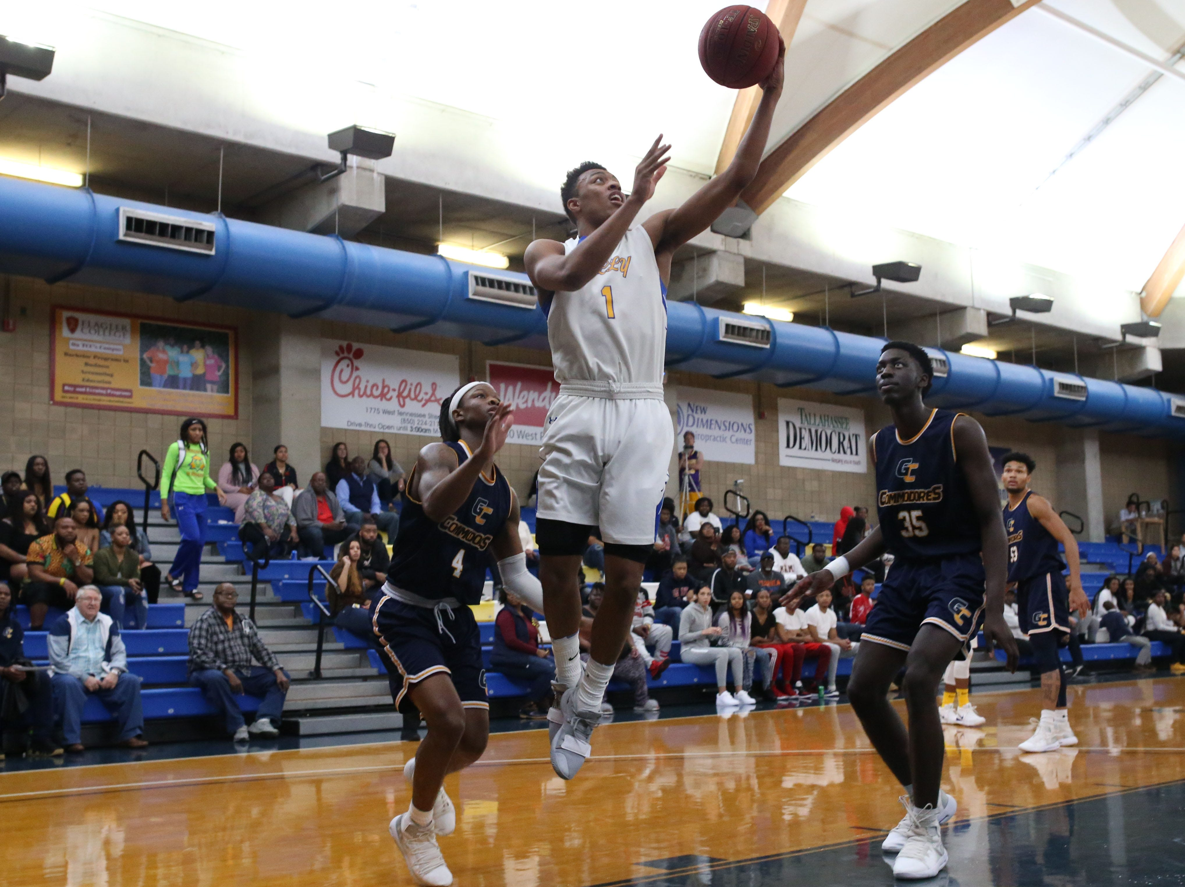 Tallahassee Community College Eagles guard Eric Boone (1) goes in for a layup. The Tallahassee Community College Eagles host the Gulf Coast State College Commodores in a conference match-up in the Eagledome, Saturday, Jan. 5, 2019.