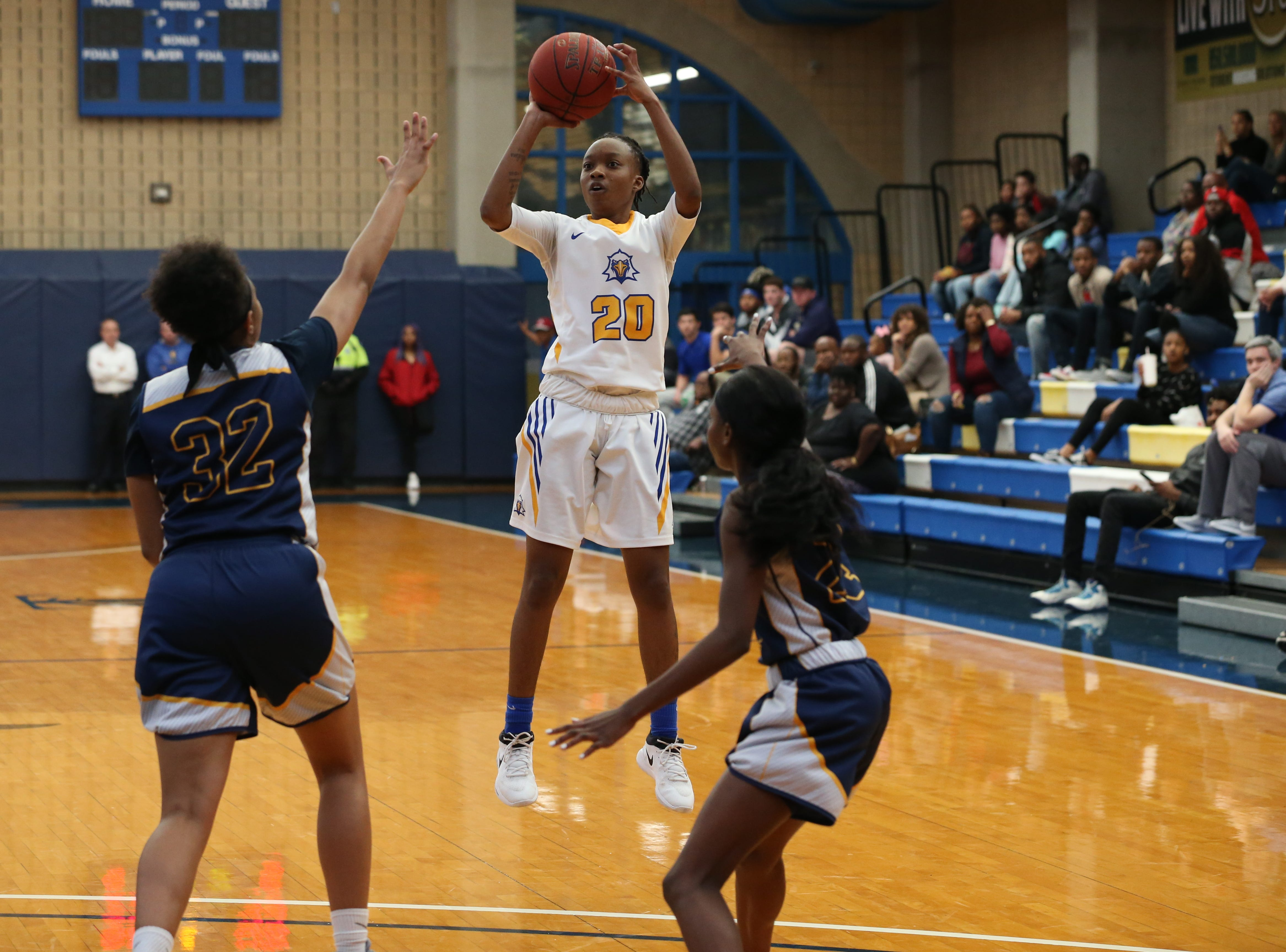 Tallahassee Community College Eagles guard Daisha Bradford (20) shoots for three. The Tallahassee Community College Eagles host the Gulf Coast State College Commodores in a conference match-up in the Eagledome, Saturday, Jan. 5, 2019.