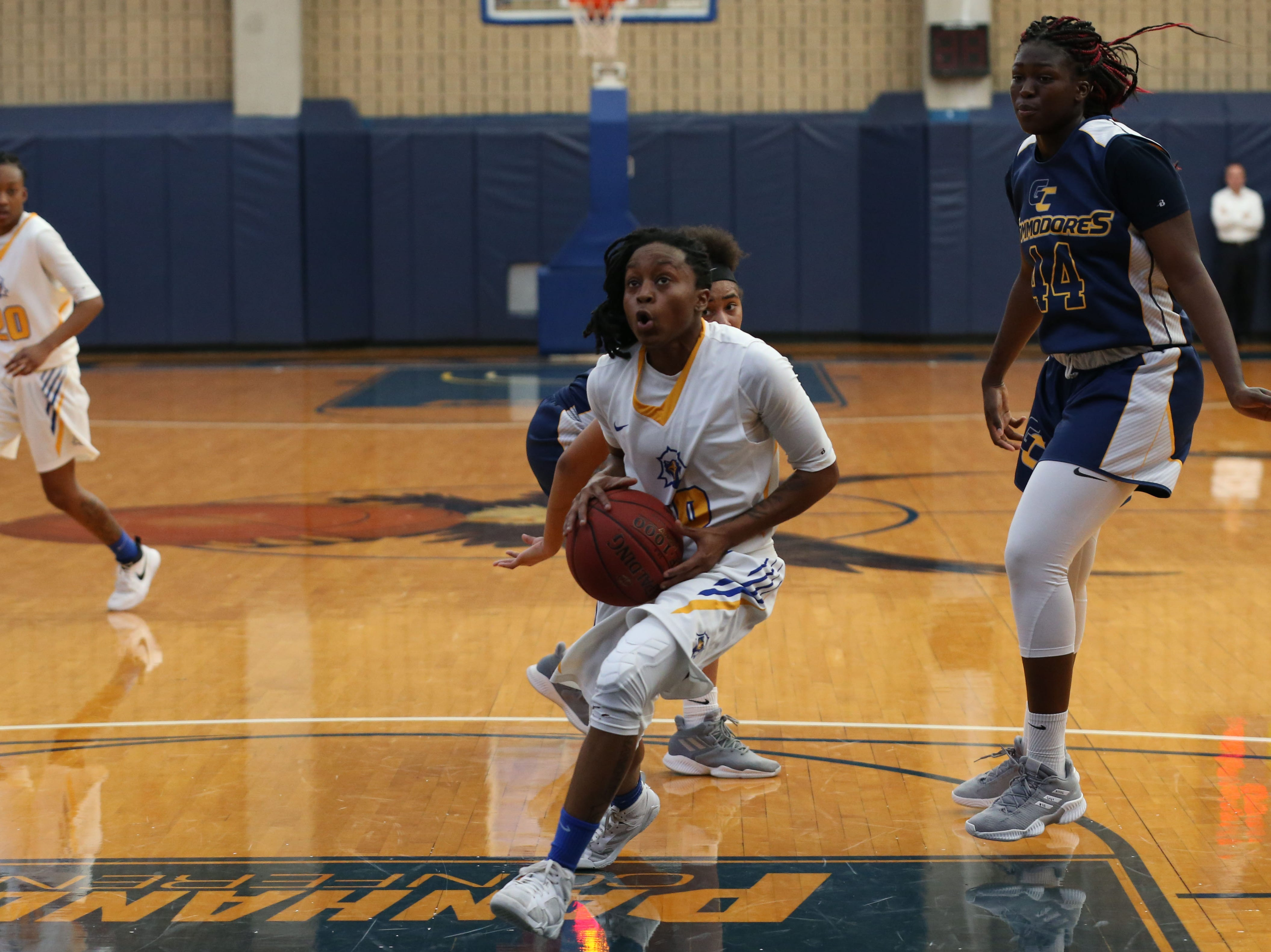 Tallahassee Community College Eagles guard Tameria Johnson (10) drives the ball in for a layup. The Tallahassee Community College Eagles host the Gulf Coast State College Commodores in a conference match-up in the Eagledome, Saturday, Jan. 5, 2019.