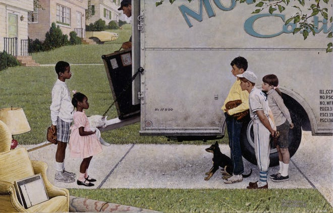 New Kids in the Neighborhood, Norman Rockwell Signed Print, story illustration for LOOK, May 16, 1967, Norman Rockwell Museum Collection. ©Norman Rockwell Family Agency. All rights reserved.