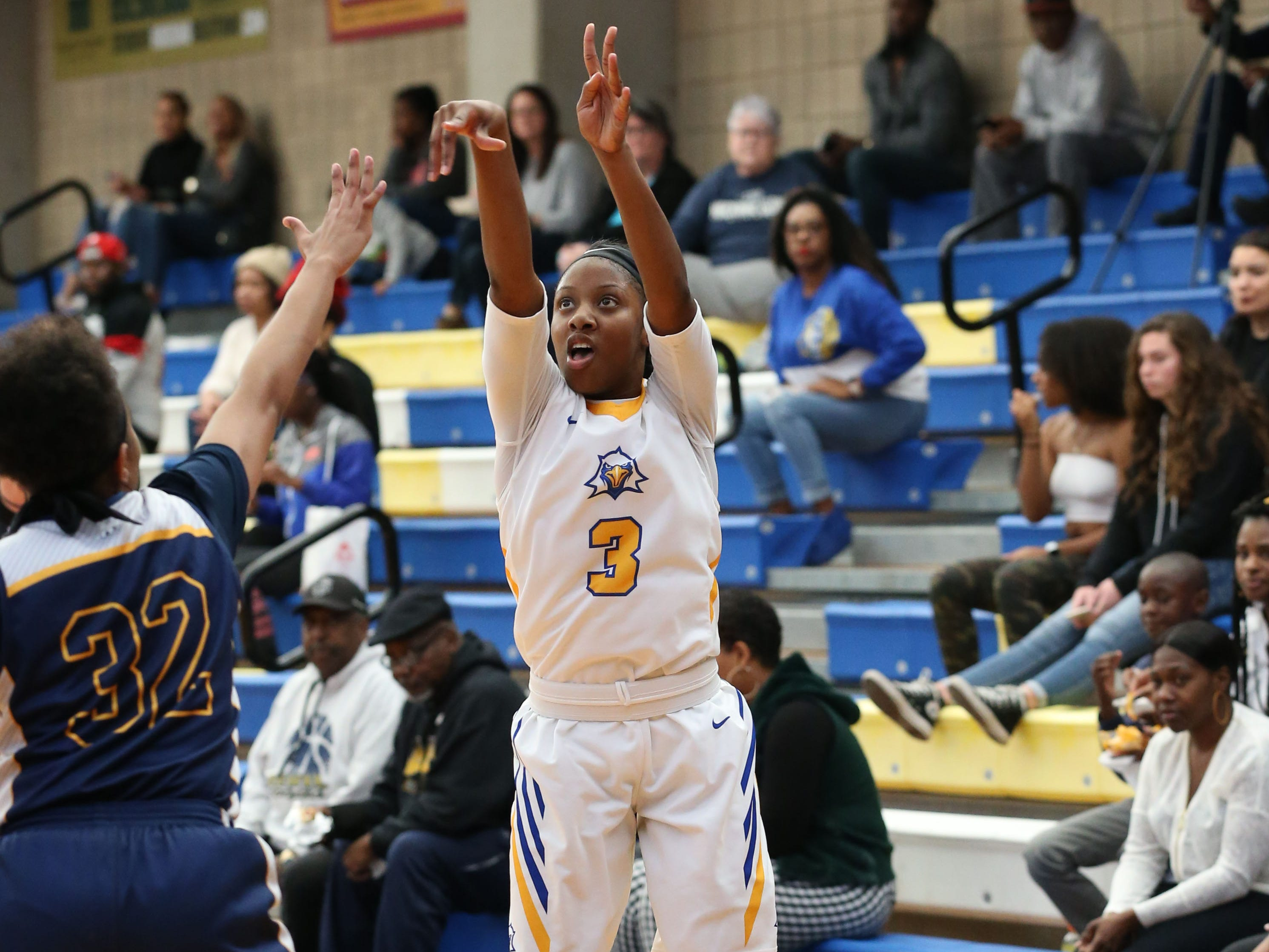 Tallahassee Community College Eagles guard Aliyah Lawson (3) shoots for three. The Tallahassee Community College Eagles host the Gulf Coast State College Commodores in a conference match-up in the Eagledome, Saturday, Jan. 5, 2019.