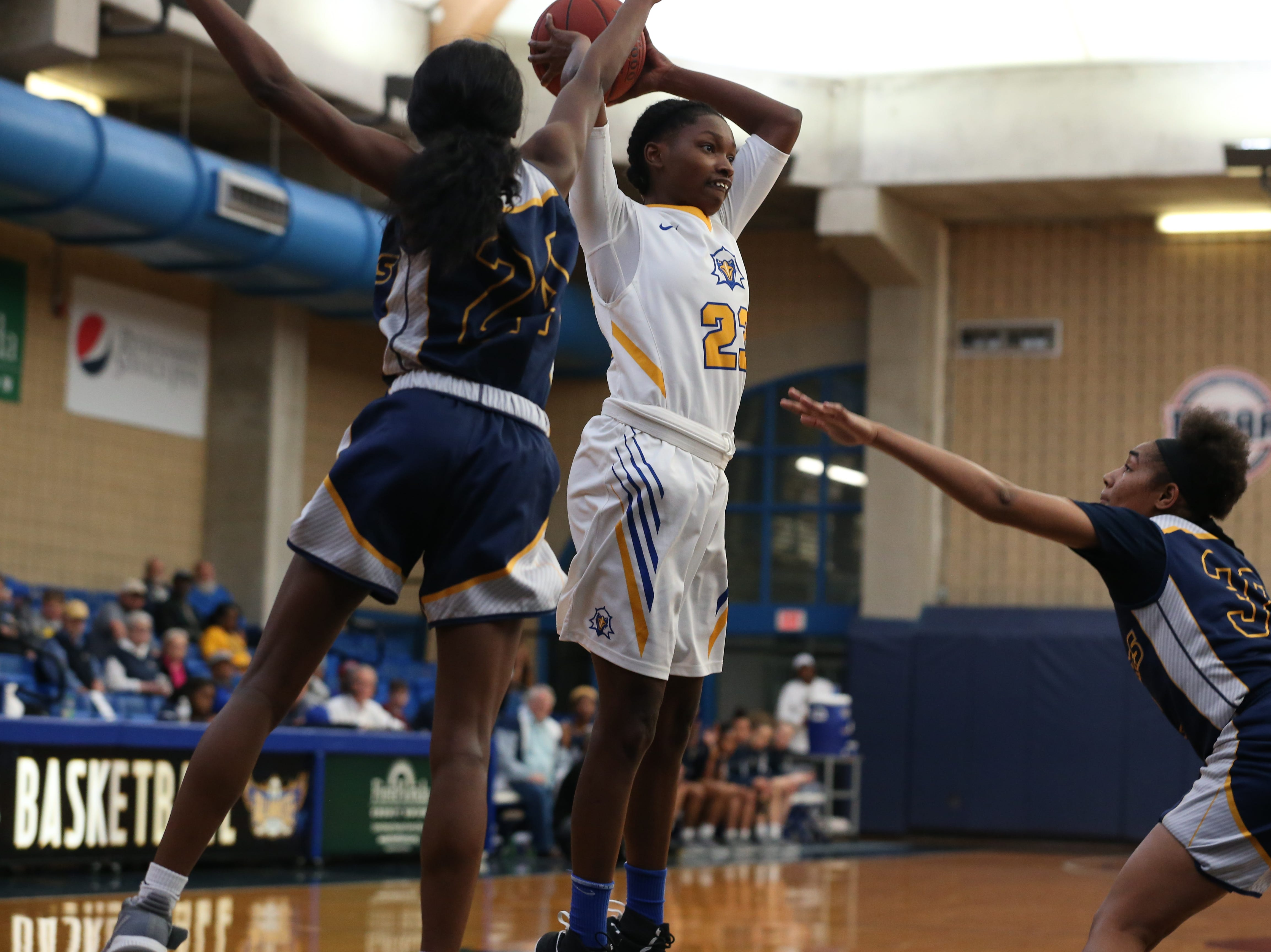 Tallahassee Community College Eagles guard Juliunn Redmond (23) tries to pass over her defender to a teammate. The Tallahassee Community College Eagles host the Gulf Coast State College Commodores in a conference match-up in the Eagledome, Saturday, Jan. 5, 2019.