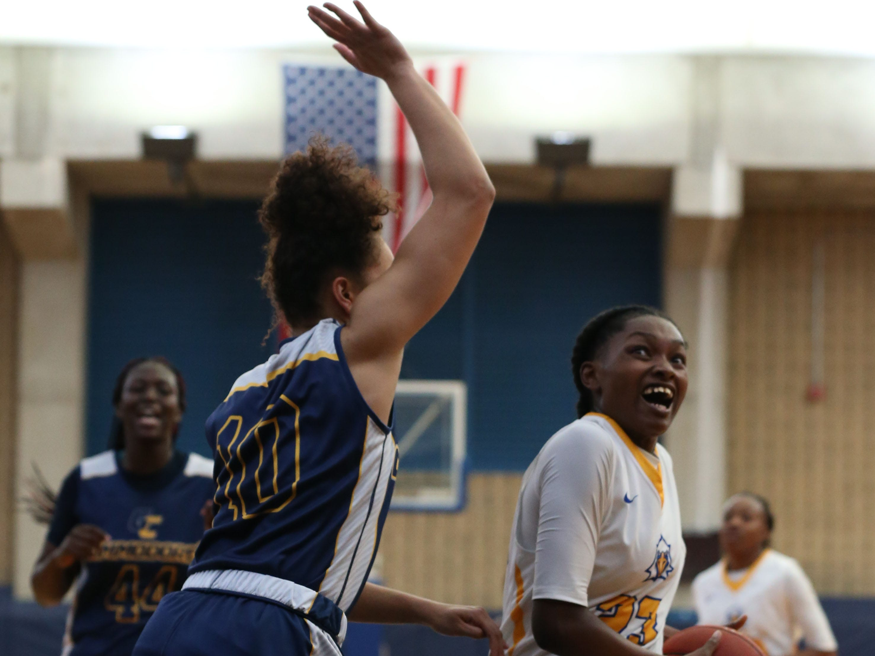 Tallahassee Community College Eagles guard Juliunn Redmond (23) drives the ball in for a layup. The Tallahassee Community College Eagles host the Gulf Coast State College Commodores in a conference match-up in the Eagledome, Saturday, Jan. 5, 2019.