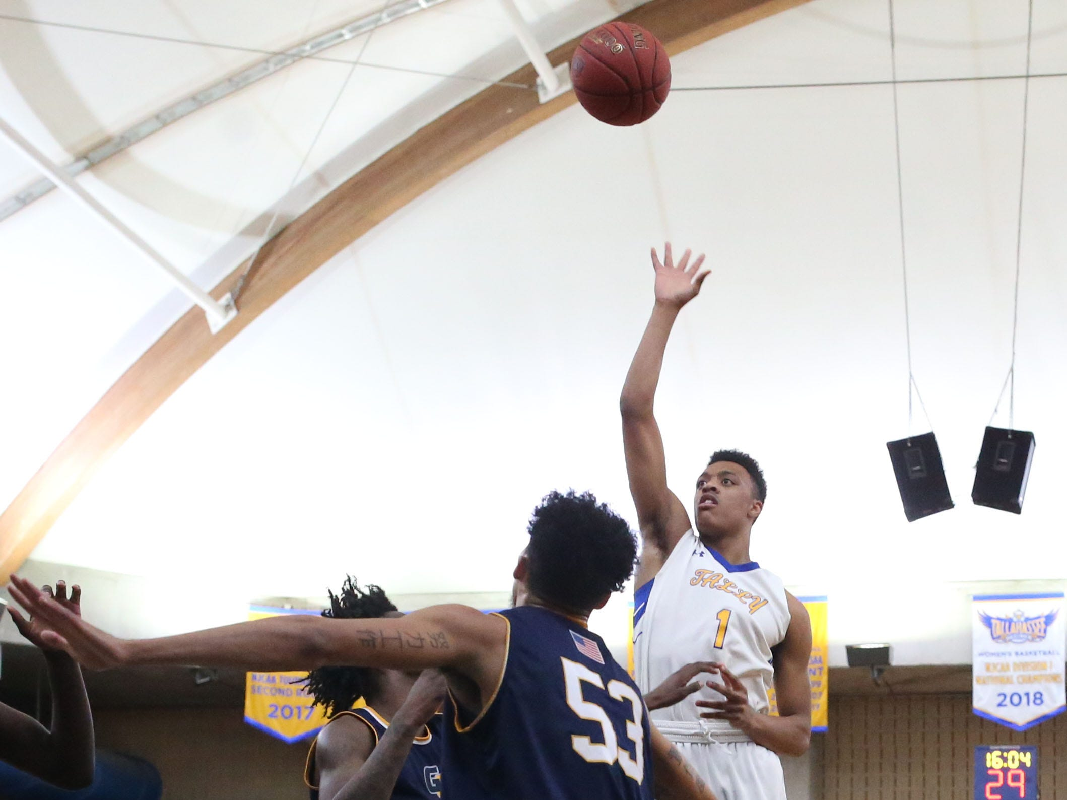 Tallahassee Community College Eagles guard Eric Boone (1) shoots for two from inside the paint. The Tallahassee Community College Eagles host the Gulf Coast State College Commodores in a conference match-up in the Eagledome, Saturday, Jan. 5, 2019.
