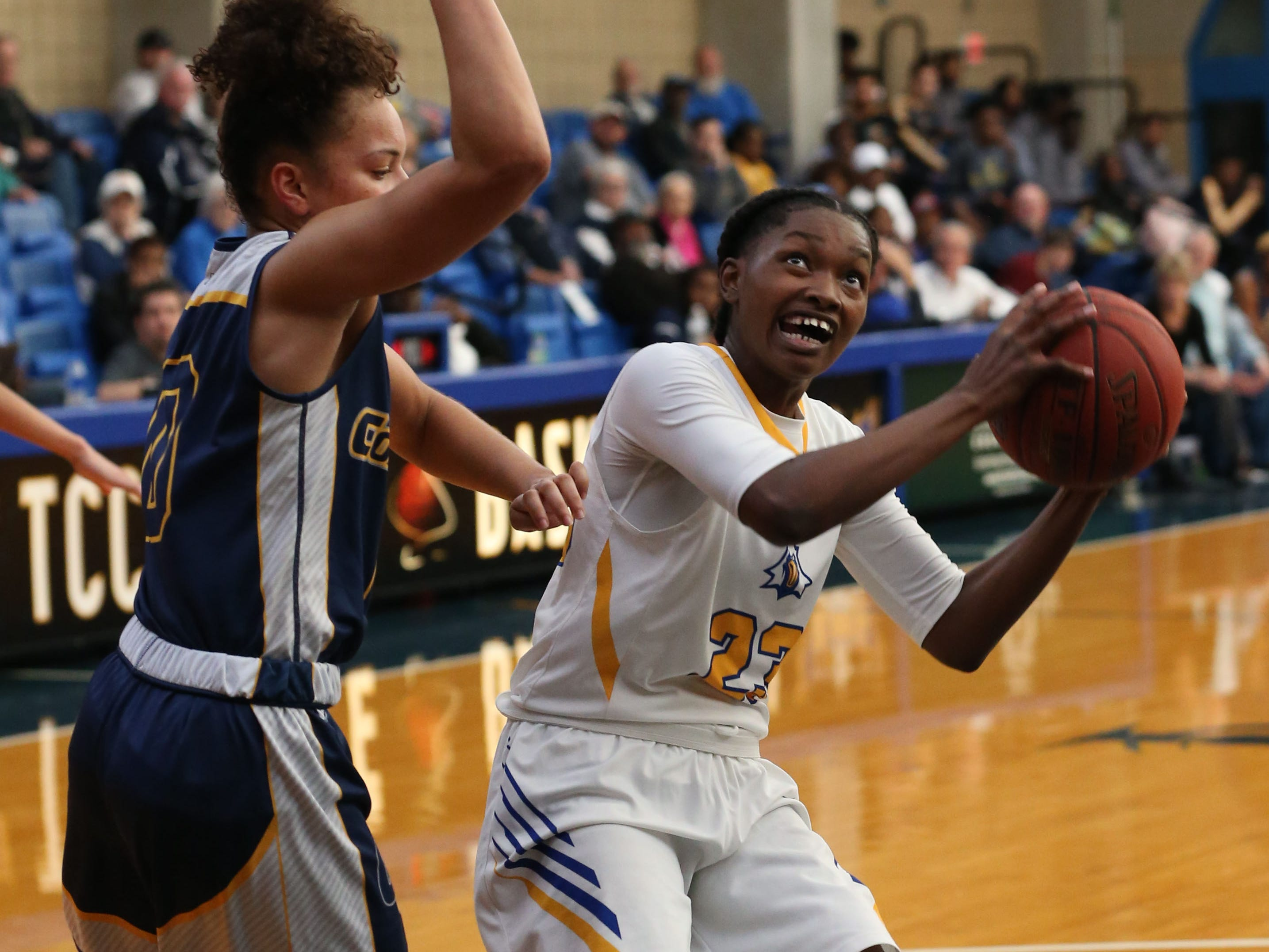 Tallahassee Community College Eagles guard Juliunn Redmond (23) looks to shoot from inside the paint. The Tallahassee Community College Eagles host the Gulf Coast State College Commodores in a conference match-up in the Eagledome, Saturday, Jan. 5, 2019.