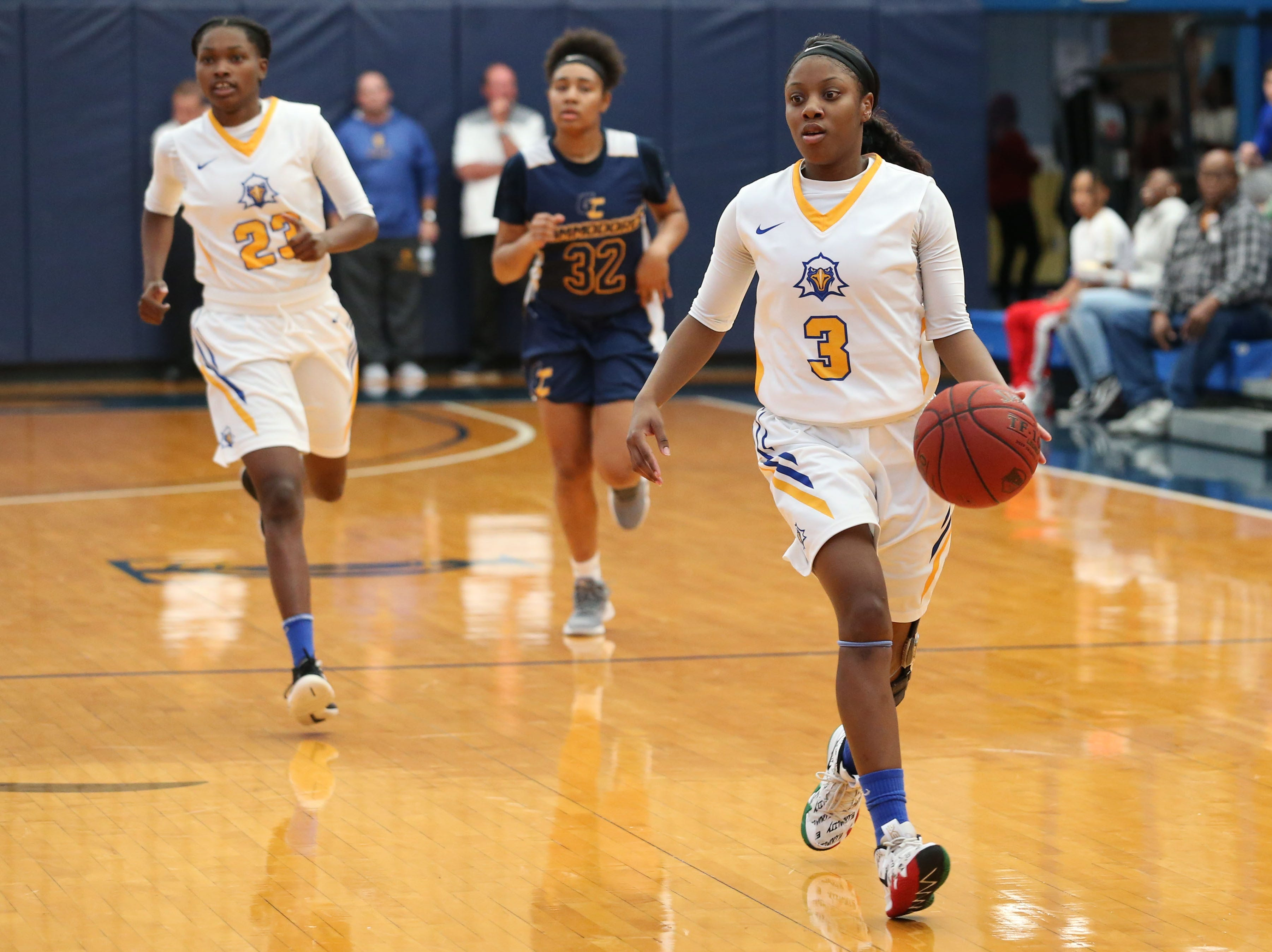 Tallahassee Community College Eagles guard Aliyah Lawson (3) drives the ball down the court without a defender close to stop her. The Tallahassee Community College Eagles host the Gulf Coast State College Commodores in a conference match-up in the Eagledome, Saturday, Jan. 5, 2019.