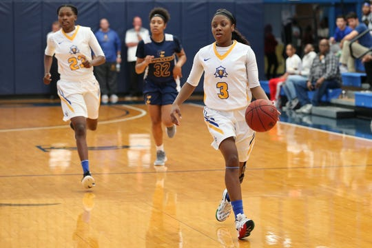 Tallahassee Community College Eagles guard Aliyah Lawson (3) pushes the ball against the Gulf Coast State College Commodores in a conference match-up in the Eagledome, Saturday, Jan. 5, 2019.
