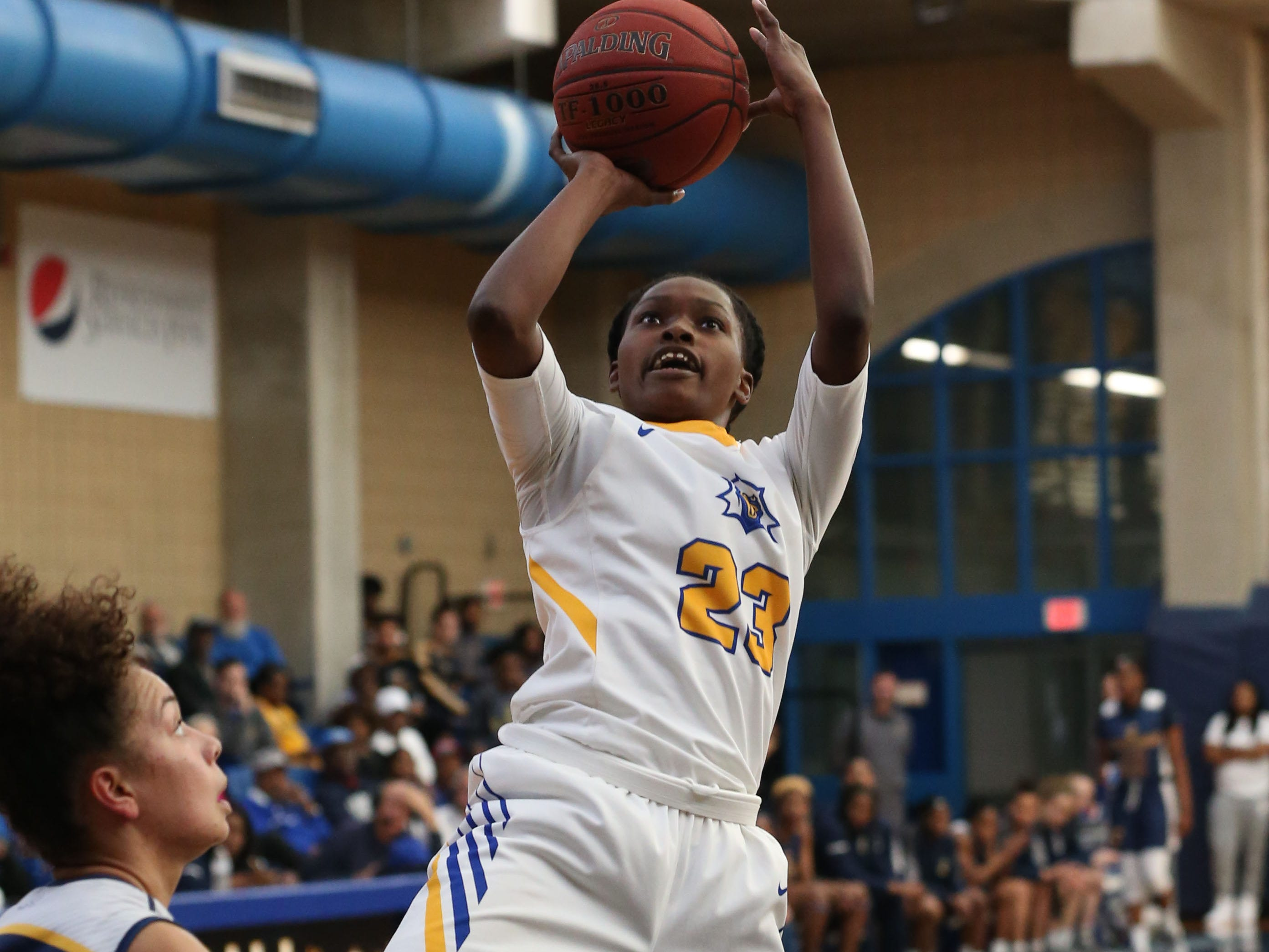 Tallahassee Community College Eagles guard Juliunn Redmond (23) shallots from inside the paint. The Tallahassee Community College Eagles host the Gulf Coast State College Commodores in a conference match-up in the Eagledome, Saturday, Jan. 5, 2019.