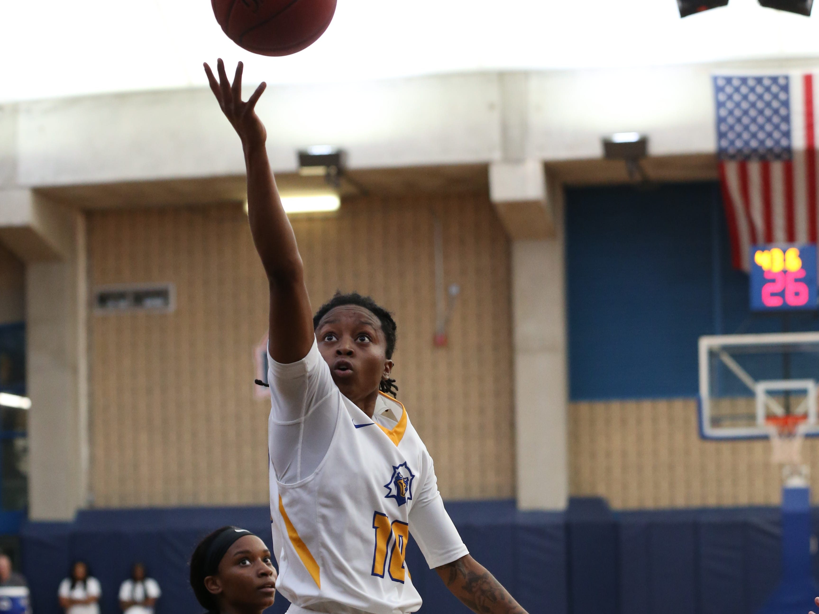 Tallahassee Community College Eagles guard Tameria Johnson (10) goes in for the layup. The Tallahassee Community College Eagles host the Gulf Coast State College Commodores in a conference match-up in the Eagledome, Saturday, Jan. 5, 2019.