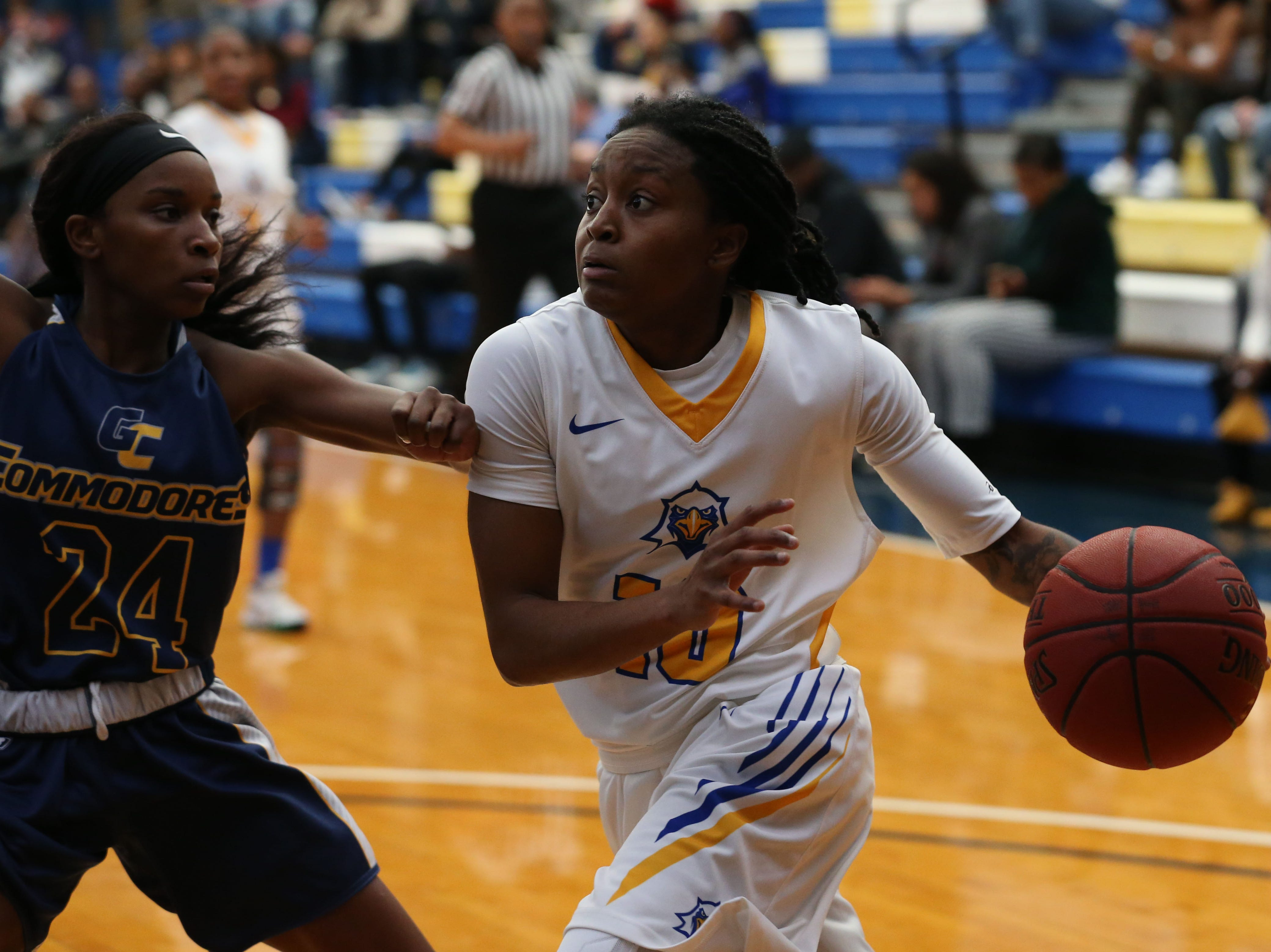 Tallahassee Community College Eagles guard Tameria Johnson (10) goes for a layup. The Tallahassee Community College Eagles host the Gulf Coast State College Commodores in a conference match-up in the Eagledome, Saturday, Jan. 5, 2019.