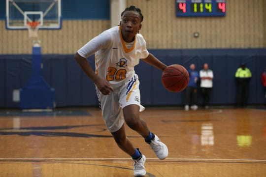 Tallahassee Community College's Daisha Bradford drives the ball in for a layup. The Eagles host the Gulf Coast State College Commodores in a conference match-up in the Eagledome, Saturday, Jan. 5, 2019.