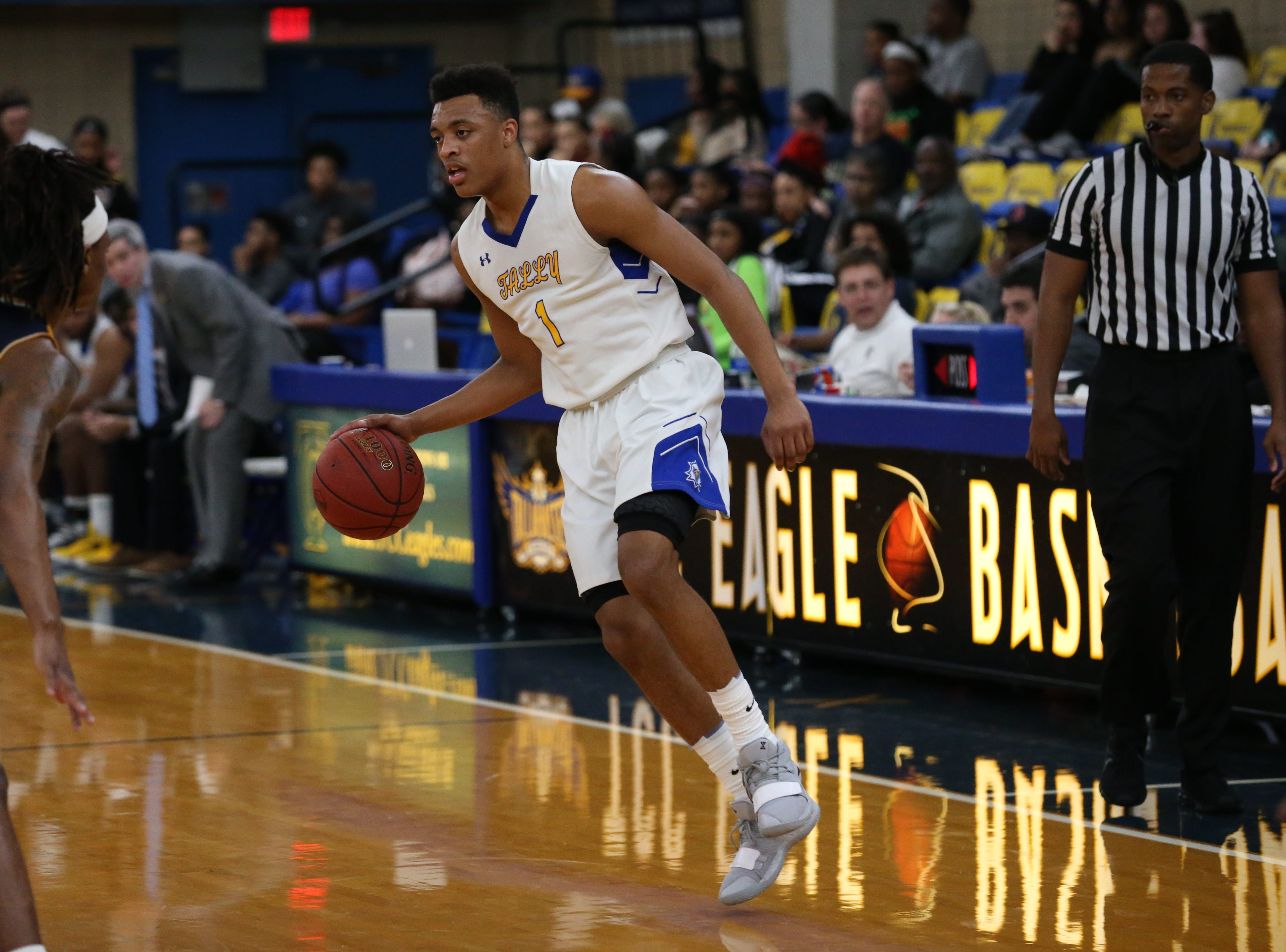 Tallahassee Community College guard Eric Boone looks to get around a defender from Gulf Coast State College.