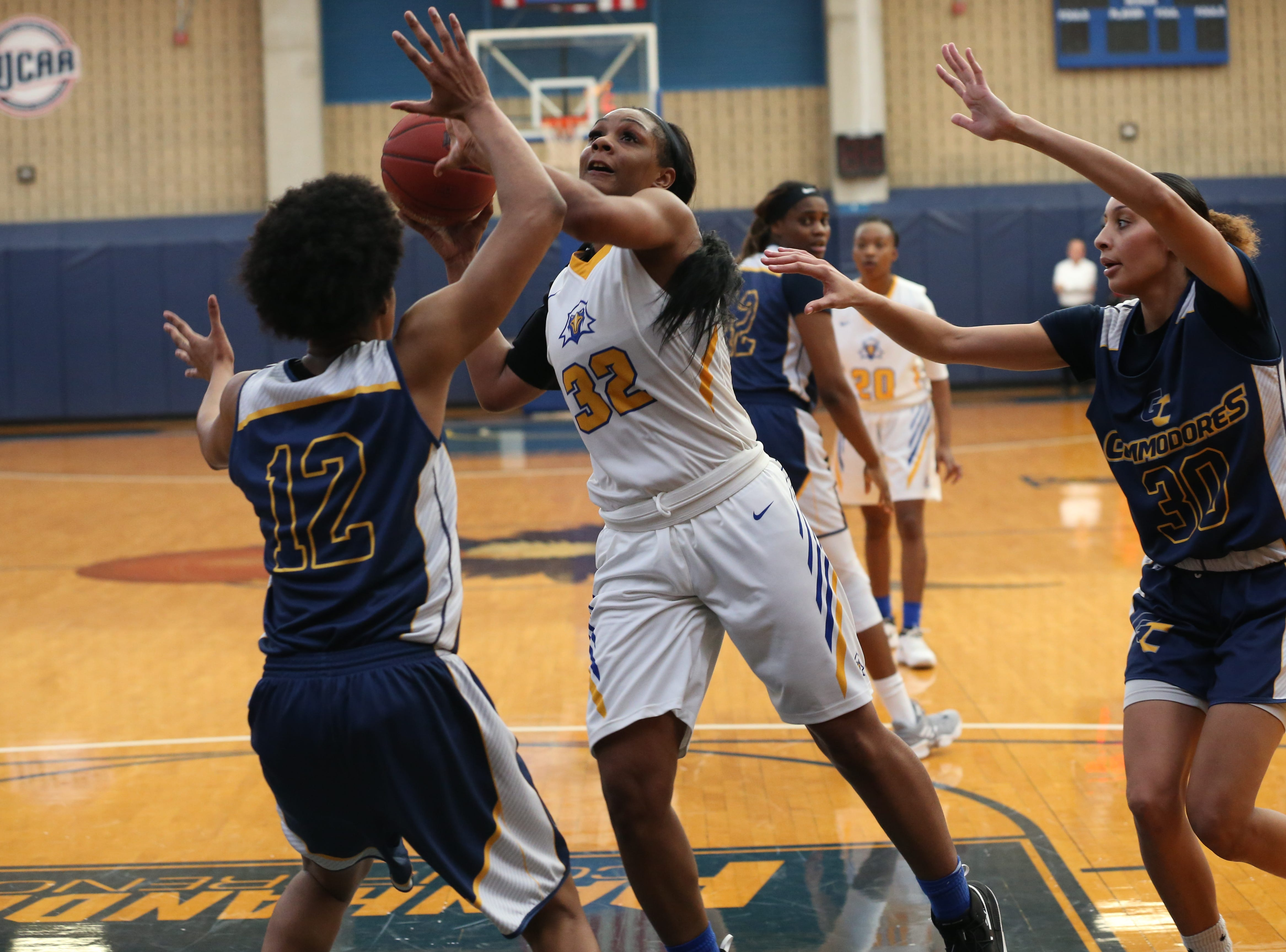 Tallahassee Community College Eagles forward Jamyra McChristine (32) shoots for two. The Tallahassee Community College Eagles host the Gulf Coast State College Commodores in a conference match-up in the Eagledome, Saturday, Jan. 5, 2019.