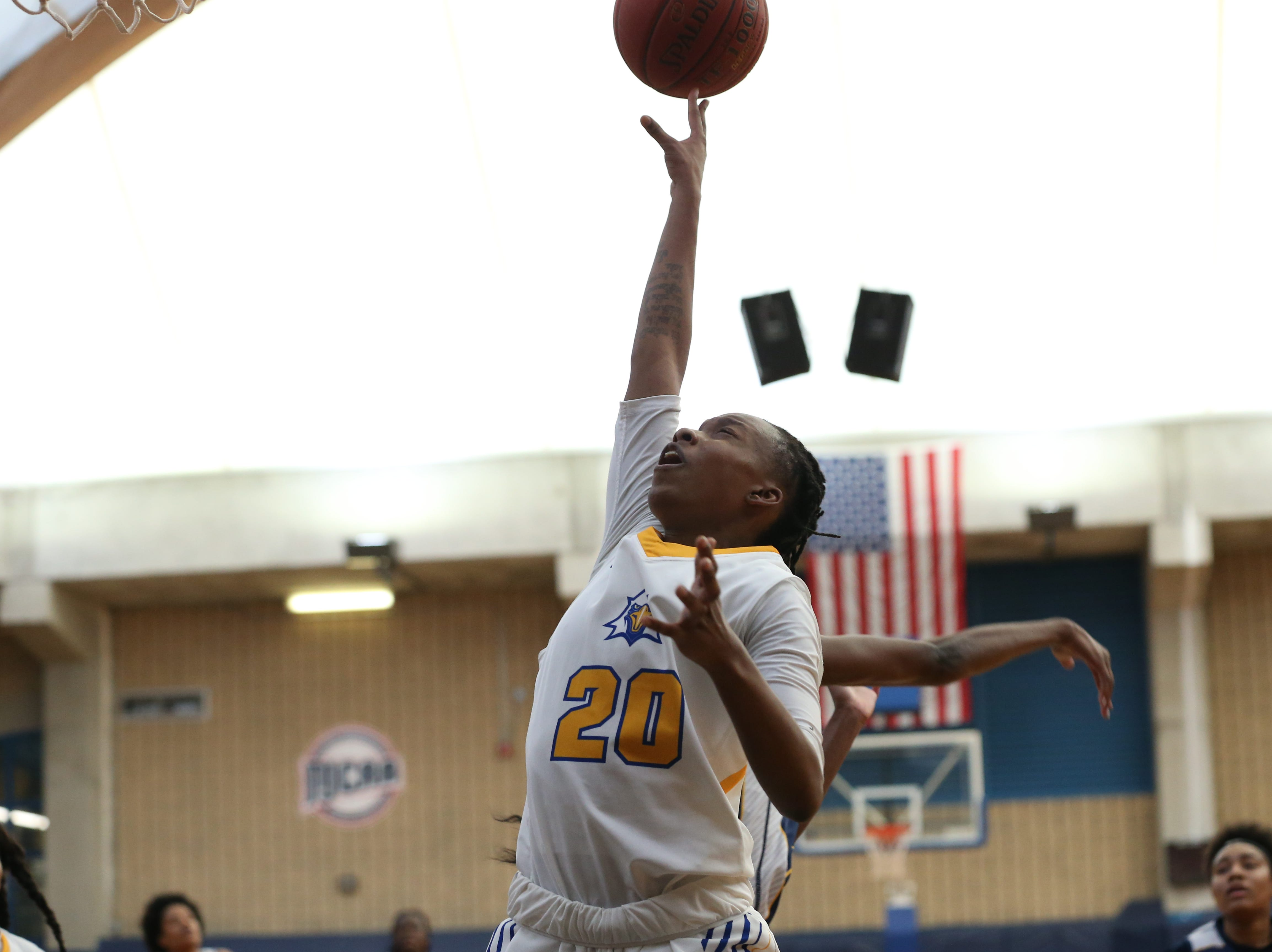 Tallahassee Community College Eagles guard Daisha Bradford (20) shoots from inside the paint. The Tallahassee Community College Eagles host the Gulf Coast State College Commodores in a conference match-up in the Eagledome, Saturday, Jan. 5, 2019.