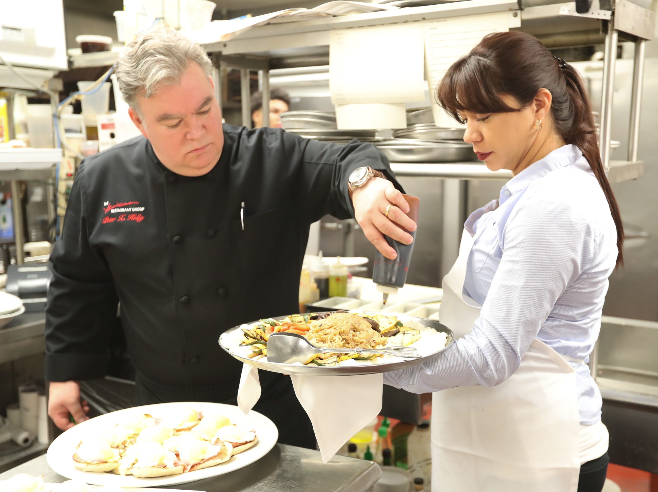 Chef Peter Kelly outs the finishing touches on the Grilled Vegatables & Mozzarella to be served at Sunday brunch at Restaurant X in Congers on Sunday, January 6, 2019.