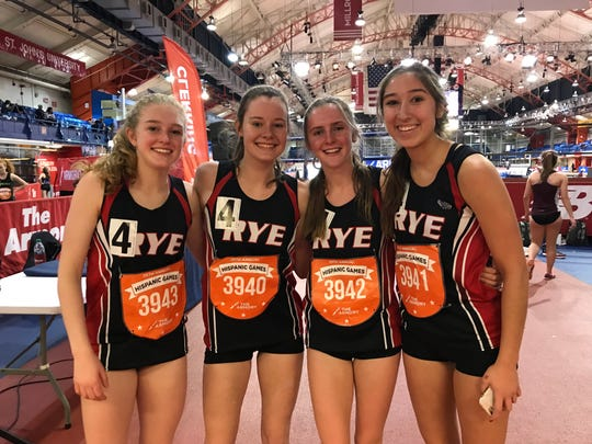 (L-R)  2019 Rye 4x800 team of Rachael Adelson, Catriona McWilliams, Philippa Emms and Elena Perez-segnin after setting school record
