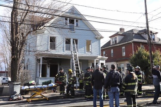 Firefighters respond to a fire on Route 9W in West Haverstraw on Sunday.