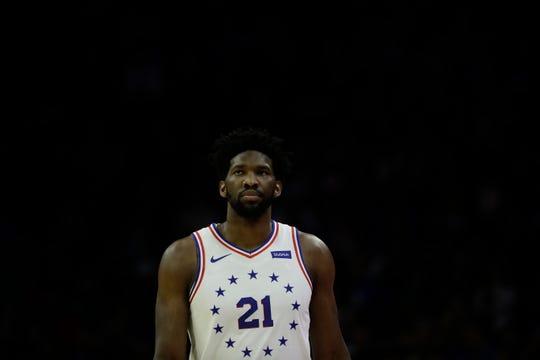 Philadelphia 76ers' Joel Embiid in action during an NBA basketball game against the Dallas Mavericks, Saturday, Jan. 5, 2019, in Philadelphia. (AP Photo/Matt Slocum)