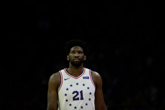 Philadelphia 76ers' Joel Embiid in action during an NBA basketball game against the Dallas Mavericks, Saturday, Jan. 5, 2019, in Philadelphia. (AP Photo/Matt Slocum)