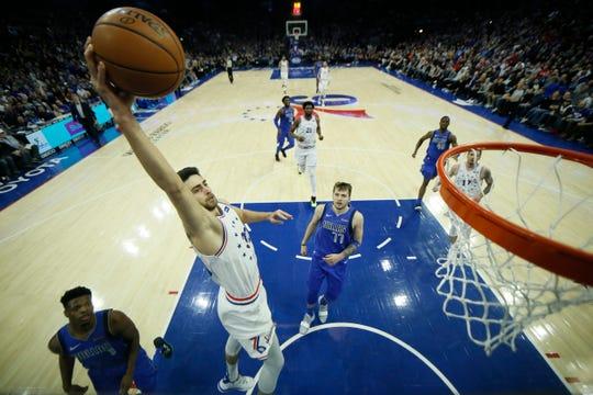 Philadelphia 76ers' Furkan Korkmaz in action during an NBA basketball game against the Dallas Mavericks, Saturday, Jan. 5, 2019, in Philadelphia. (AP Photo/Matt Slocum)